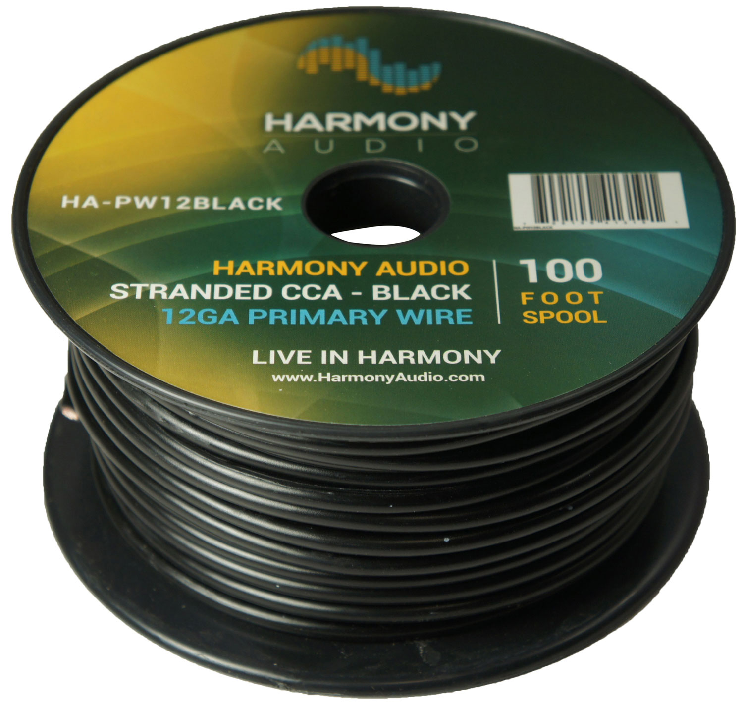 Harmony Audio HA-PW12BLACK Primary Single Conductor 12 Gauge Black Power or Ground Wire Roll 100 Feet Cable for Car Audio / Trailer / Model Train / Remote