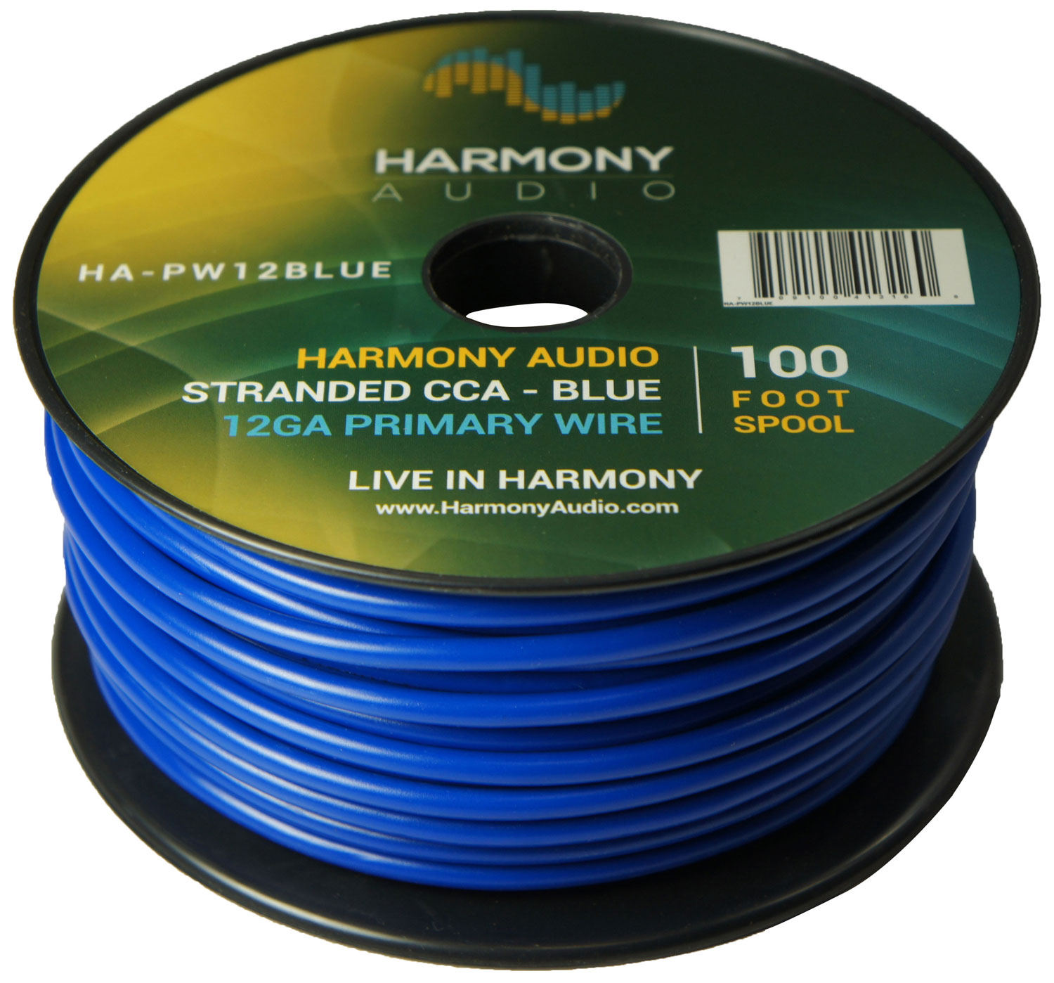 Harmony Audio HA-PW12BLUE Primary Single Conductor 12 Gauge Blue Power or Ground Wire Roll 100 Feet Cable for Car Audio / Trailer / Model Train / Remote