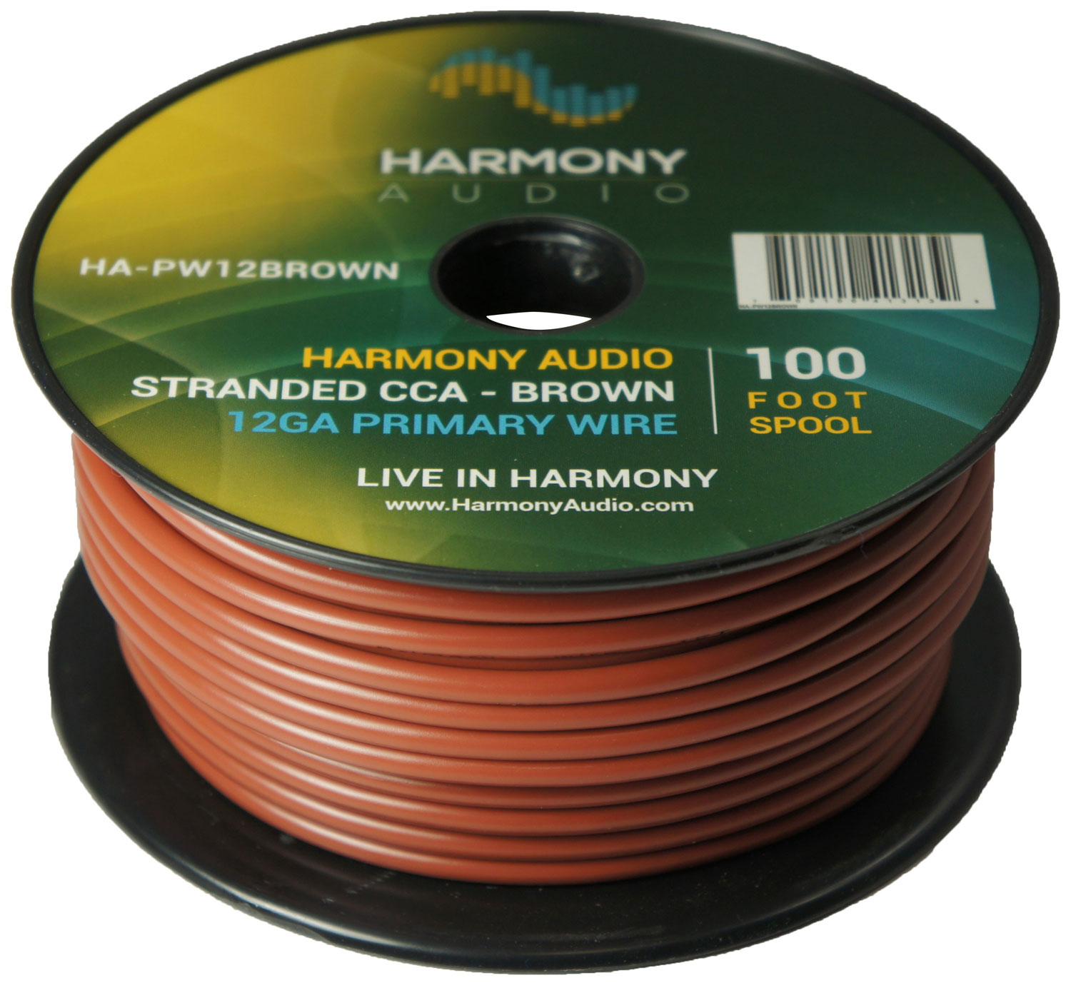 Harmony Audio HA-PW12BROWN Primary Single Conductor 12 Gauge Brown Power or Ground Wire Roll 100 Feet Cable for Car Audio / Trailer / Model Train / Remote