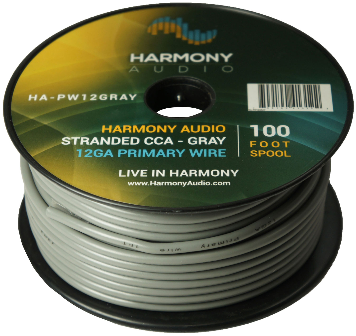 Harmony Audio HA-PW12GRAY Primary Single Conductor 12 Gauge Gray Power or Ground Wire Roll 100 Feet Cable for Car Audio / Trailer / Model Train / Remote