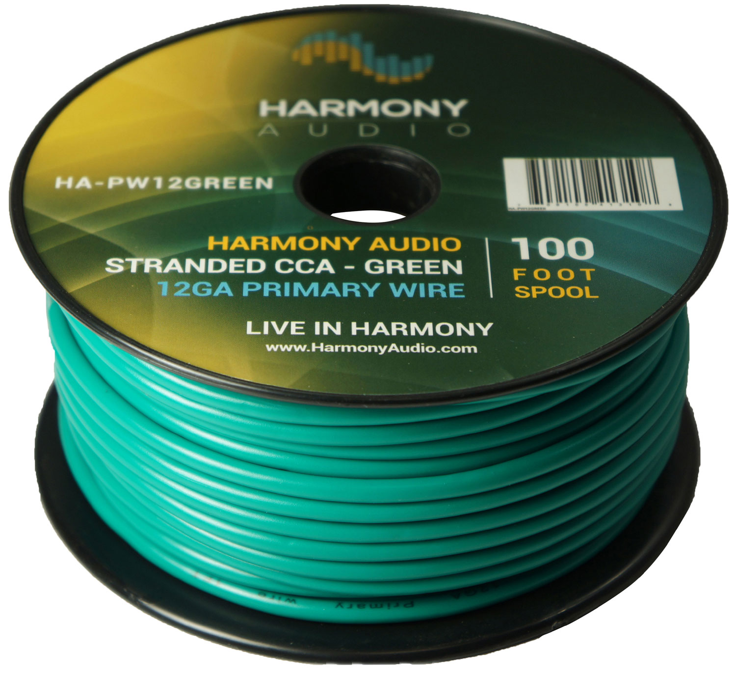 Harmony Audio HA-PW12GREEN Primary Single Conductor 12 Gauge Green Power or Ground Wire Roll 100 Feet Cable for Car Audio / Trailer / Model Train / Remote