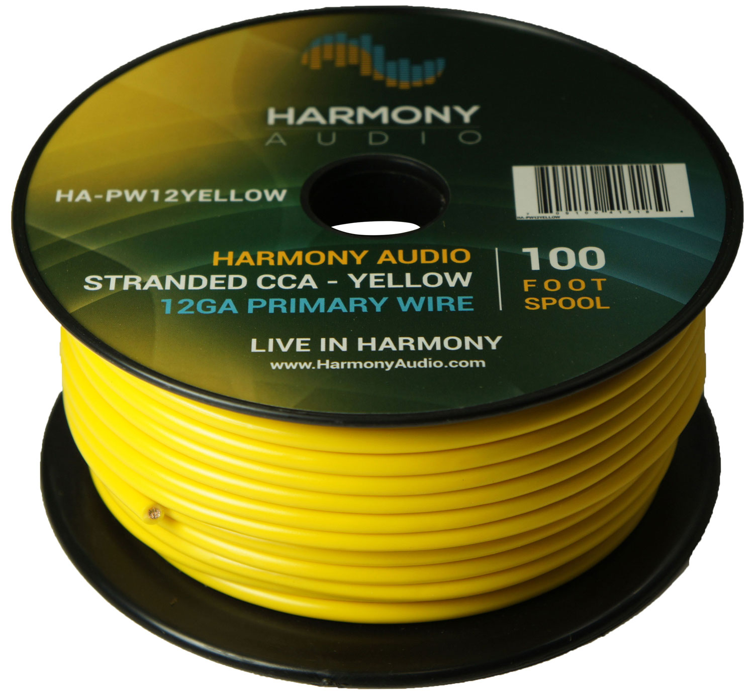 Harmony Audio HA-PW12YELLOW Primary Single Conductor 12 Gauge Yellow Power or Ground Wire Roll 100 Feet Cable for Car Audio / Trailer / Model Train / Remote