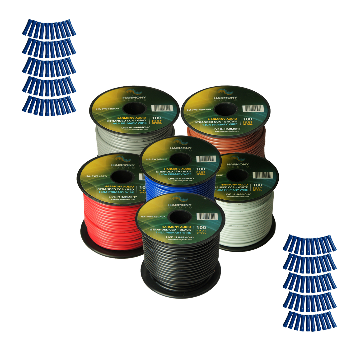 Harmony Audio Primary Single Conductor 14 Gauge Power or Ground Wire - 6 Rolls - 600 Feet - 6 Color Mix for Car Audio / Trailer / Model Train / Remote
