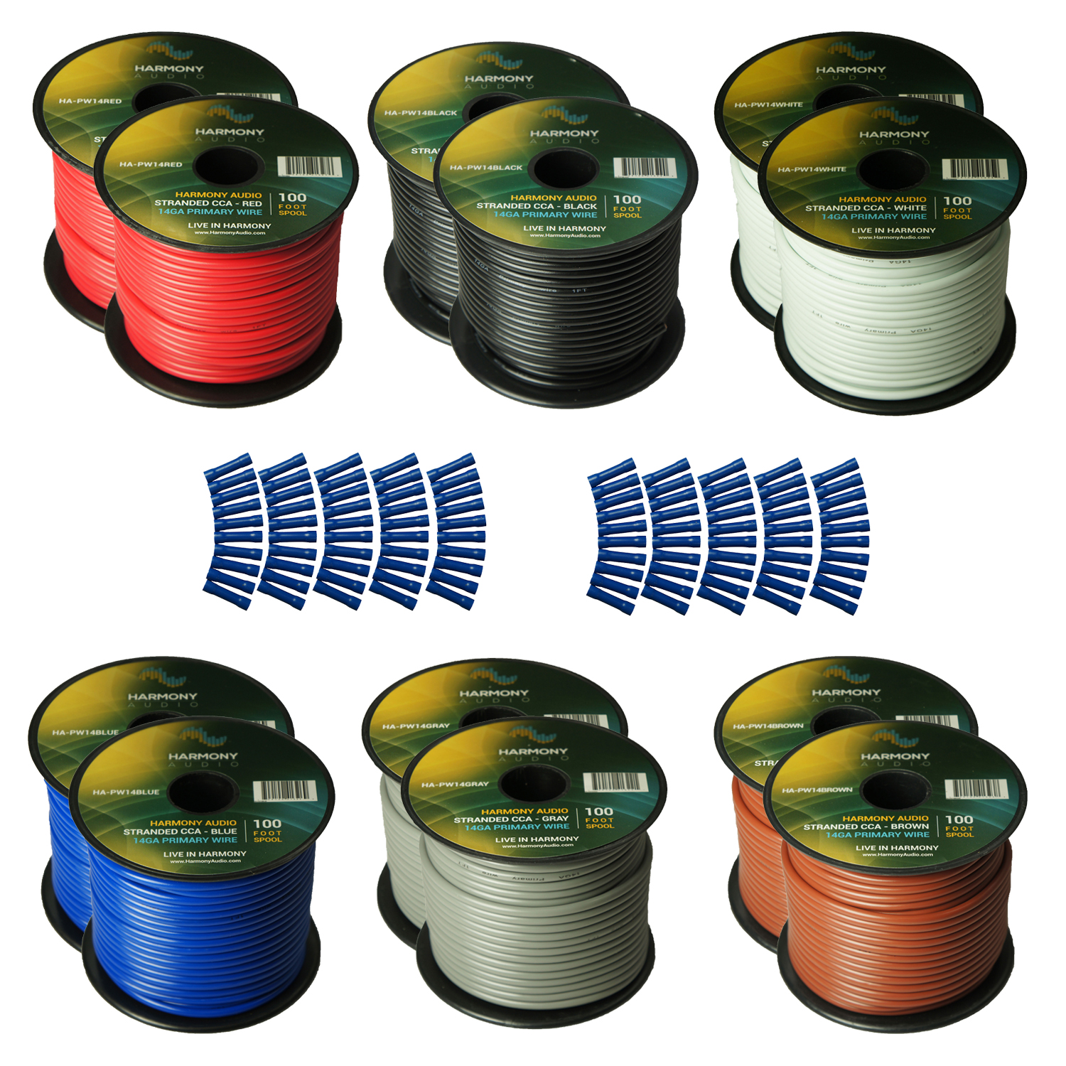 Harmony Audio Primary Single Conductor 14 Gauge Power or Ground Wire - 12 Rolls - 1200 Feet - 6 Color Mix for Car Audio / Trailer / Model Train / Remote