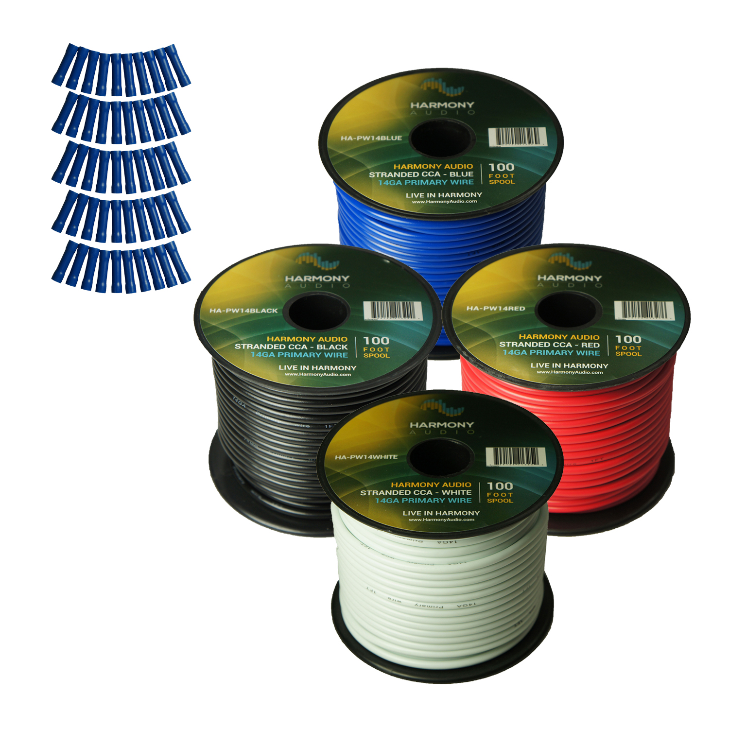 Harmony Audio Primary Single Conductor 14 Gauge Power or Ground Wire - 4 Rolls - 400 Feet - 4 Color Mix for Car Audio / Trailer / Model Train / Remote