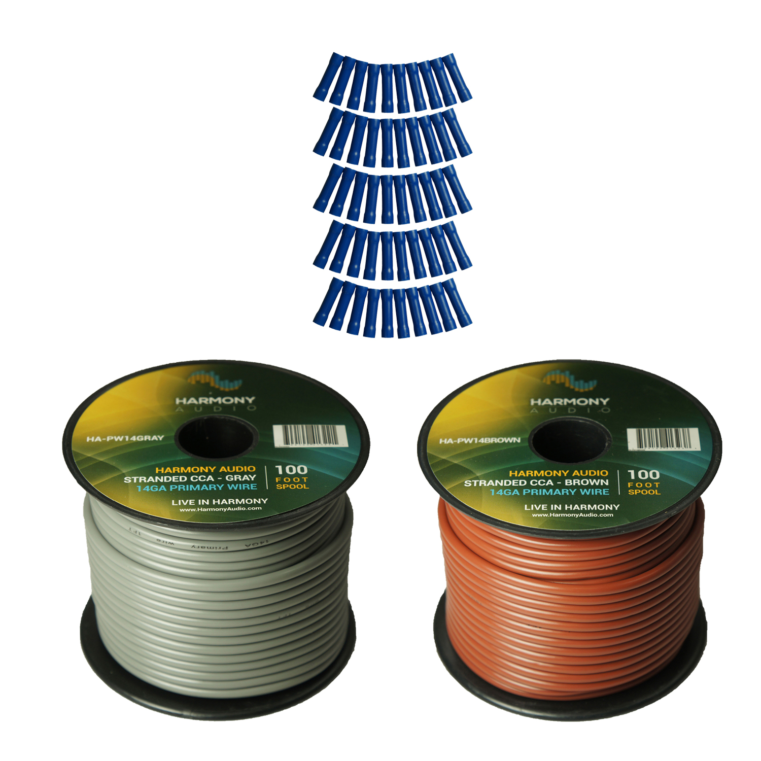 Harmony Audio Primary Single Conductor 14 Gauge Power or Ground Wire - 2 Rolls - 200 Feet - Gray & Brown for Car Audio / Trailer / Model Train / Remote