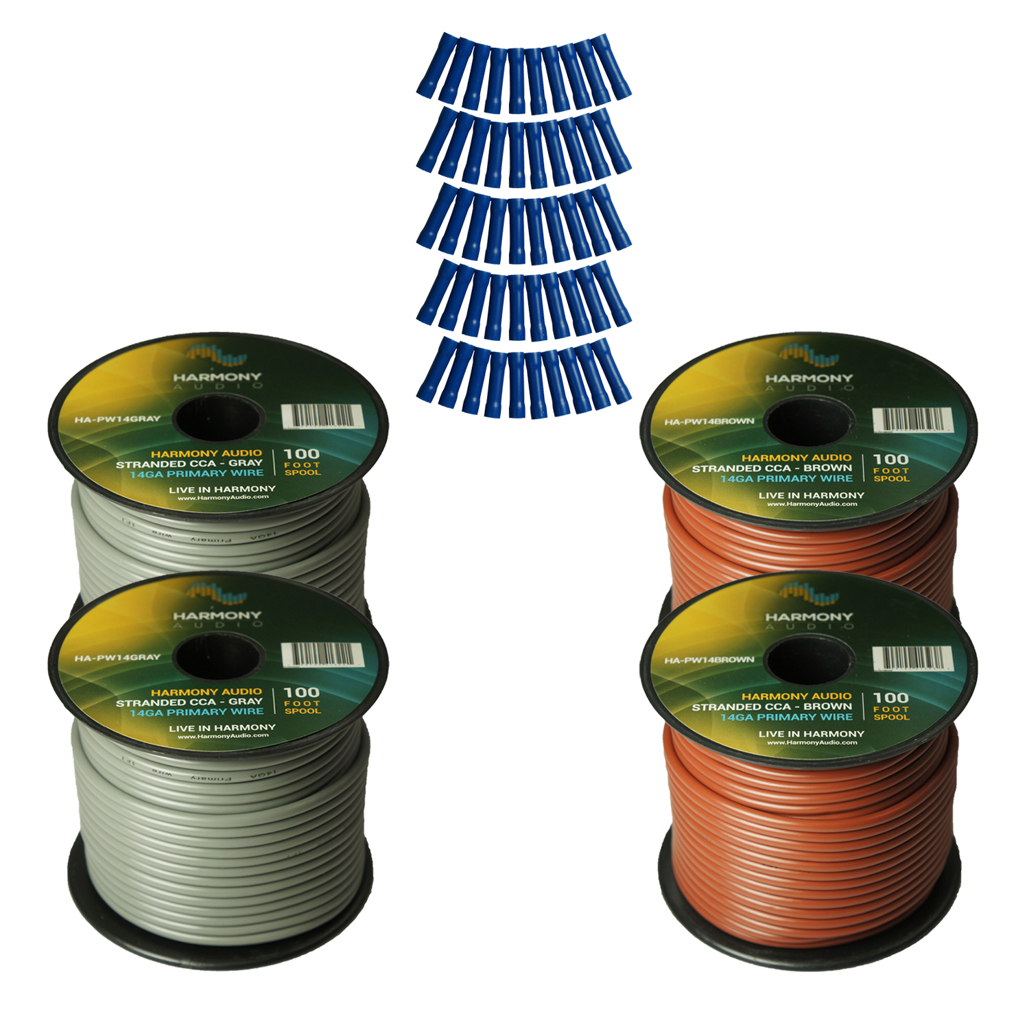Harmony Audio Primary Single Conductor 14 Gauge Power or Ground Wire - 4 Rolls - 400 Feet - Gray & Brown for Car Audio / Trailer / Model Train / Remote