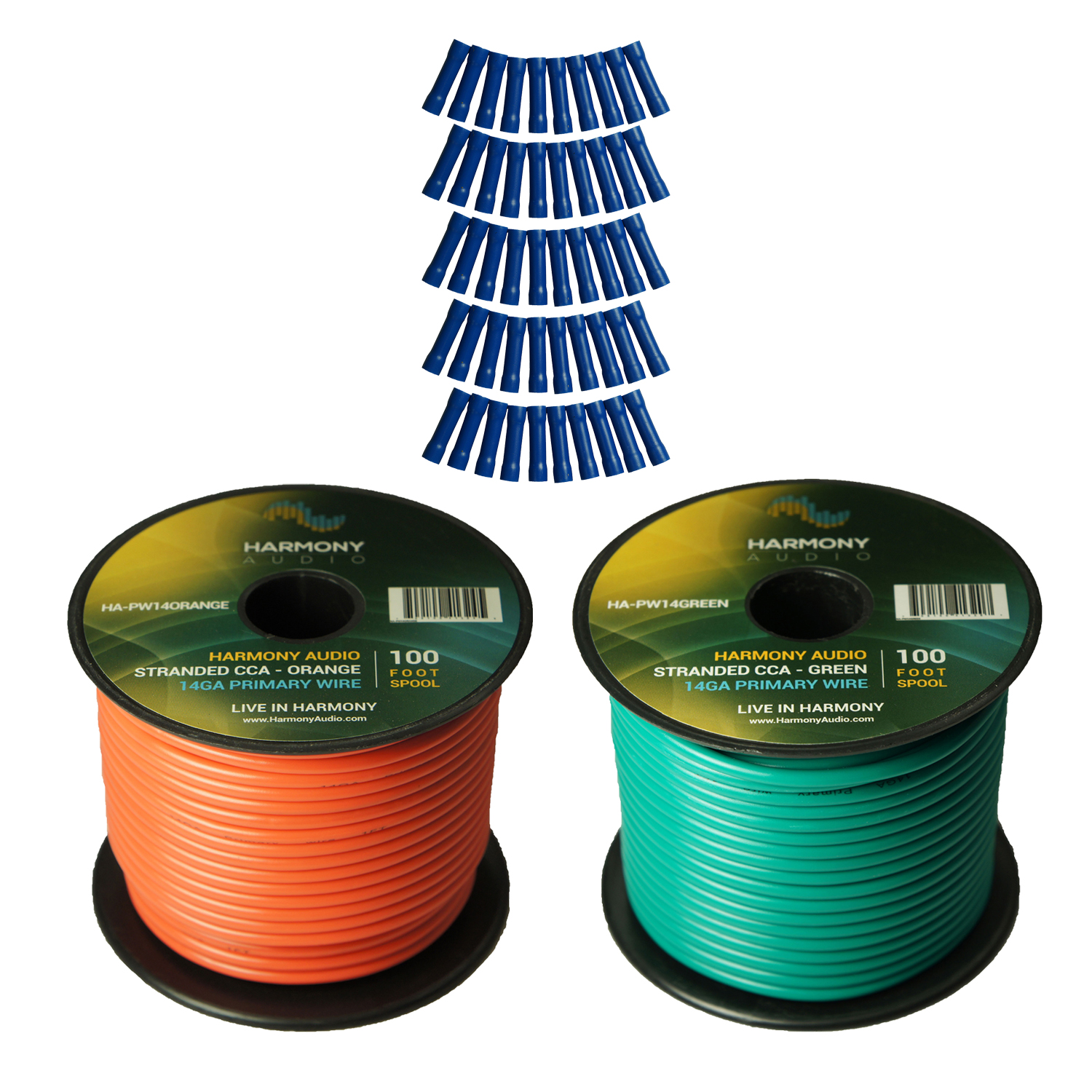 Harmony Audio Primary Single Conductor 14 Gauge Power or Ground Wire - 2 Rolls - 200 Feet - Green & Orange for Car Audio / Trailer / Model Train / Remote