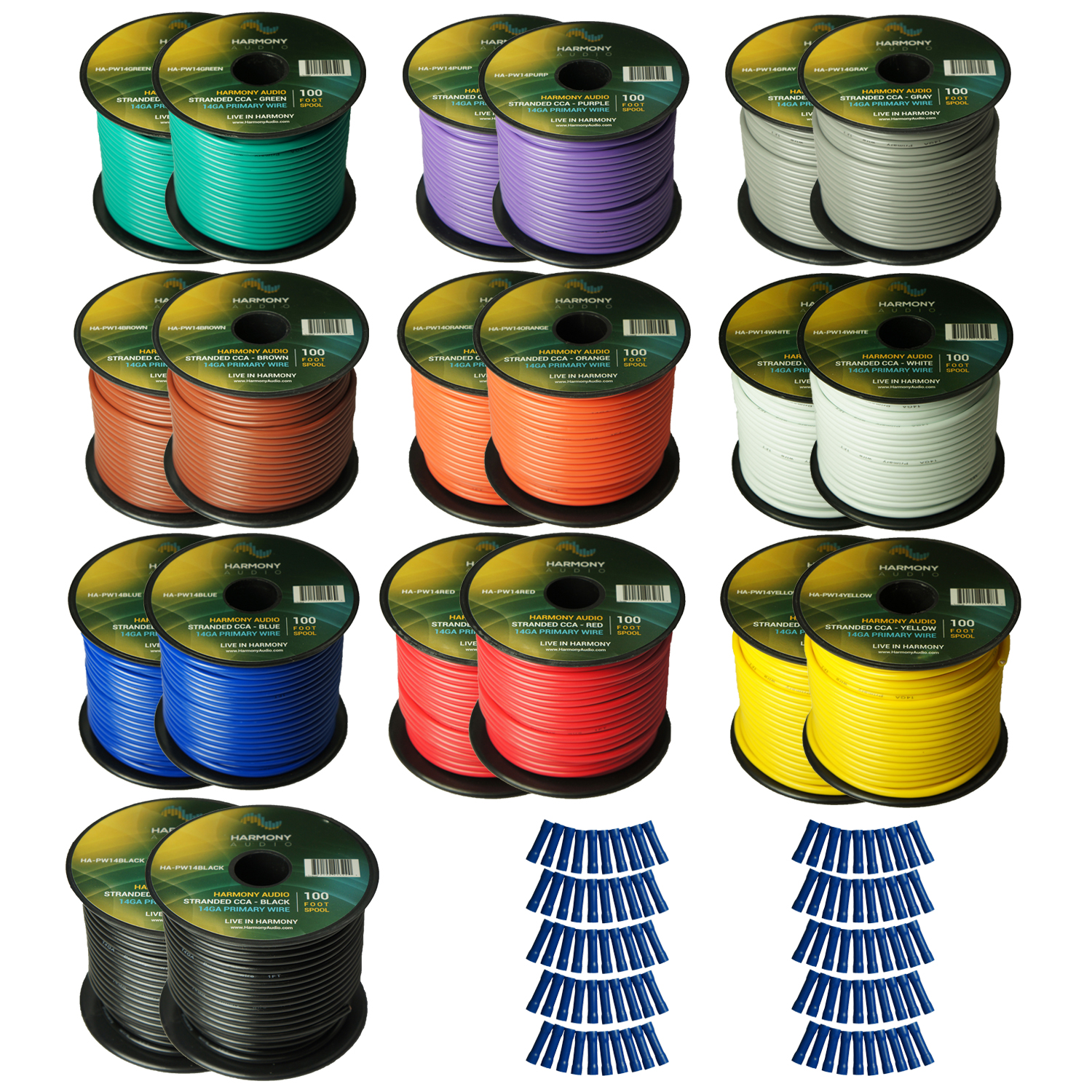 Harmony Audio Primary Single Conductor 14 Gauge Power or Ground Wire - 20 Rolls - 3000 Feet - Color Mix for Car Audio / Trailer / Model Train / Remote