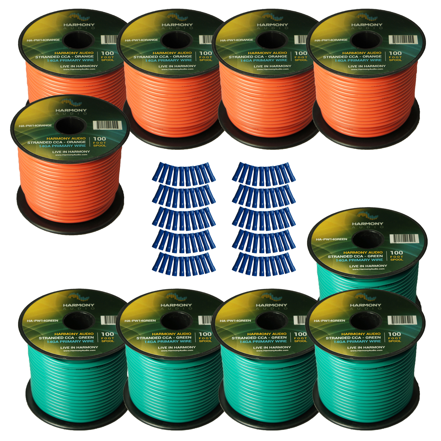 Harmony Audio Primary Single Conductor 14 Gauge Power or Ground Wire - 10 Rolls - 1000 Feet - Green & Orange for Car Audio / Trailer / Model Train / Remote