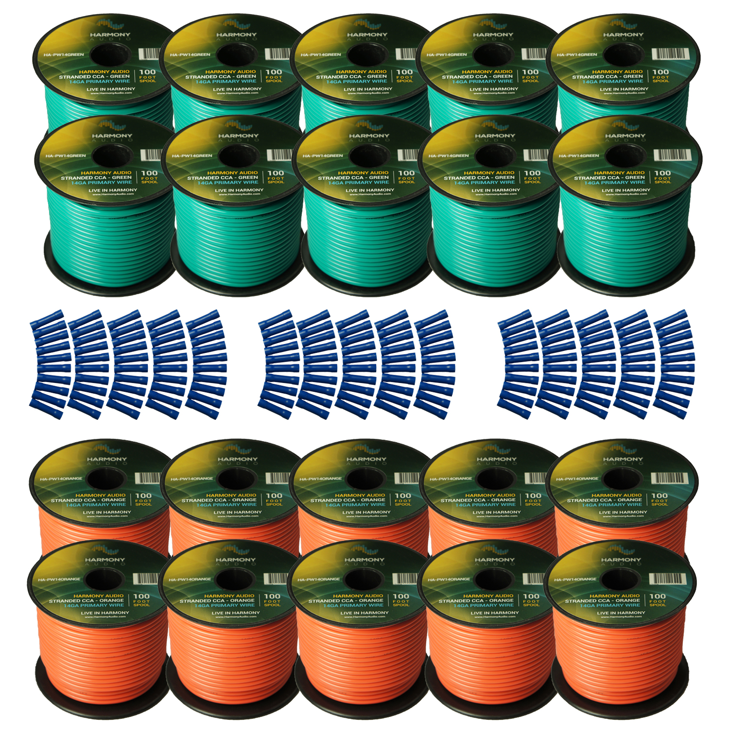 Harmony Audio Primary Single Conductor 14 Gauge Power or Ground Wire - 20 Rolls - 2000 Feet - Green & Orange for Car Audio / Trailer / Model Train / Remote