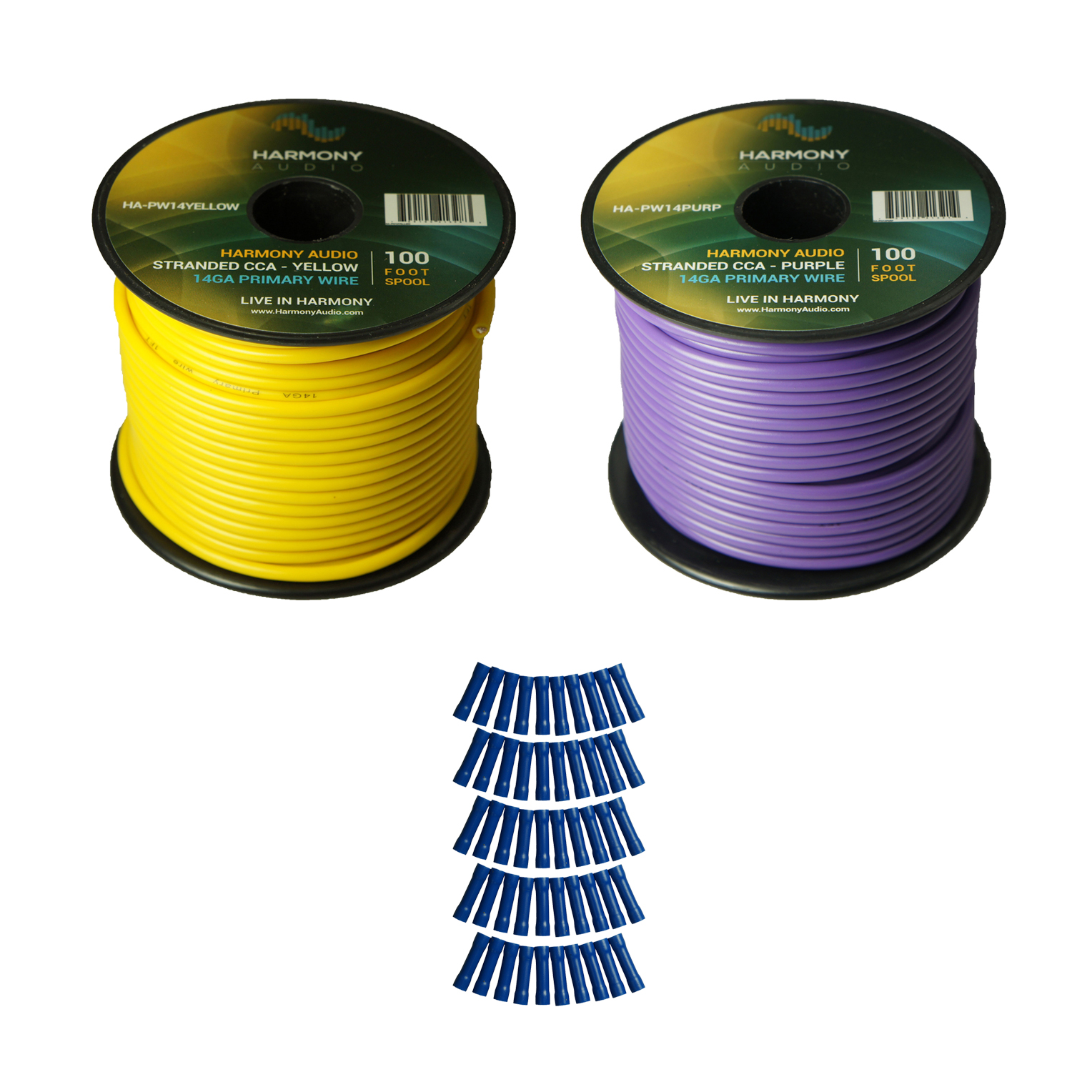 Harmony Audio Primary Single Conductor 14 Gauge Power or Ground Wire - 2 Rolls - 200 Feet - Yellow & Purple for Car Audio / Trailer / Model Train / Remote