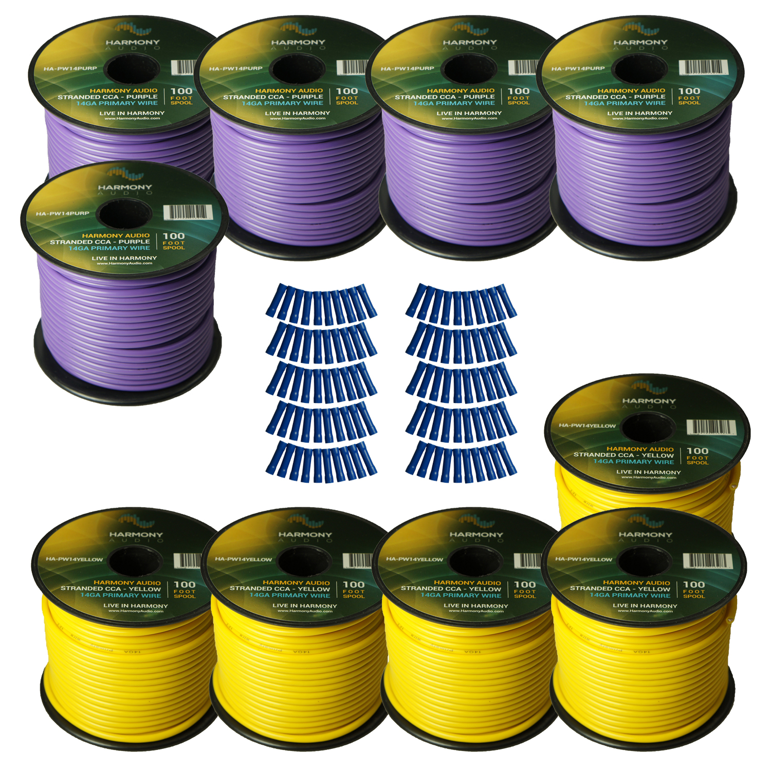 Harmony Audio Primary Single Conductor 14 Gauge Power or Ground Wire - 10 Rolls - 1000 Feet - Yellow & Purple for Car Audio / Trailer / Model Train / Remote