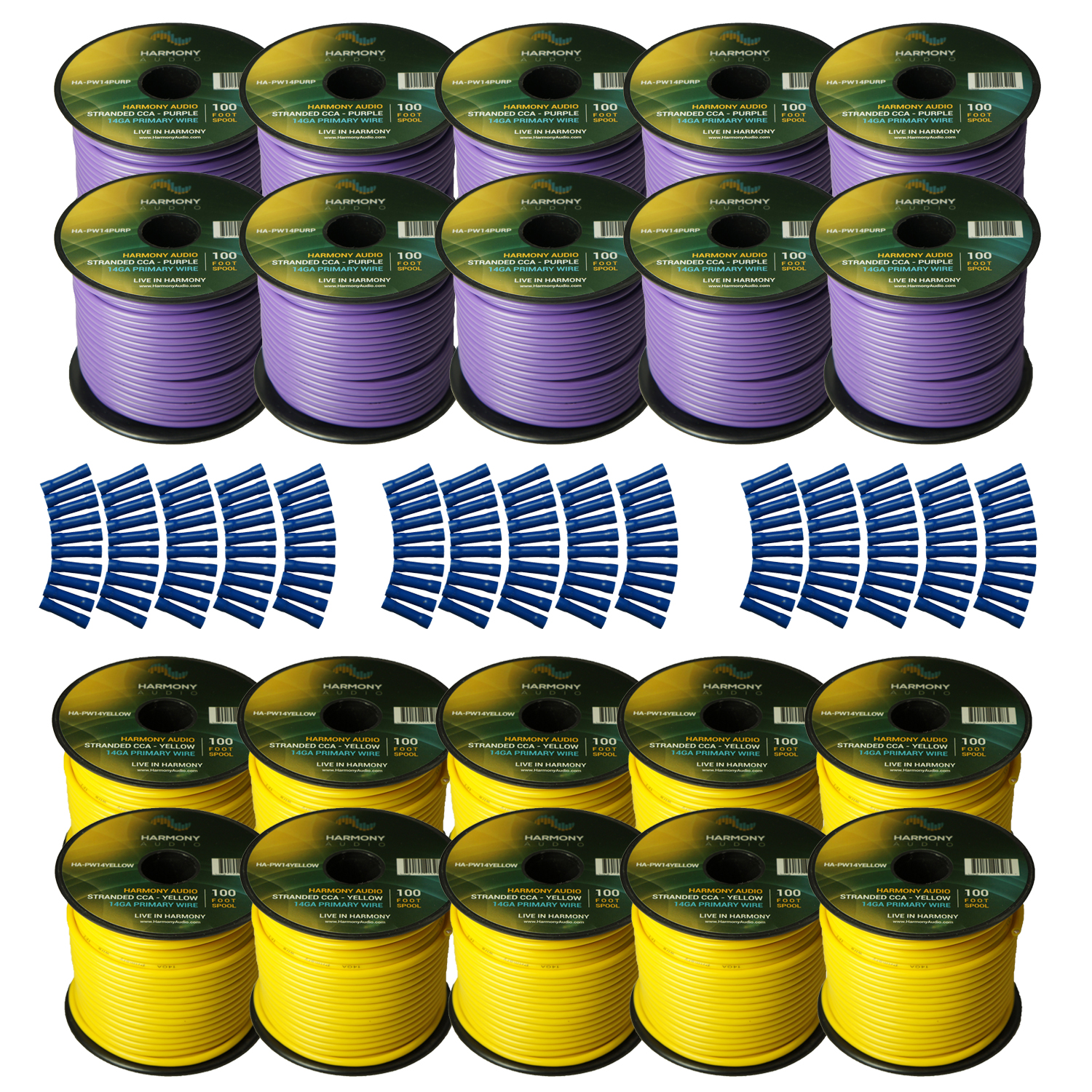 Harmony Audio Primary Single Conductor 14 Gauge Power or Ground Wire - 20 Rolls - 2000 Feet - Yellow & Purple for Car Audio / Trailer / Model Train / Remote