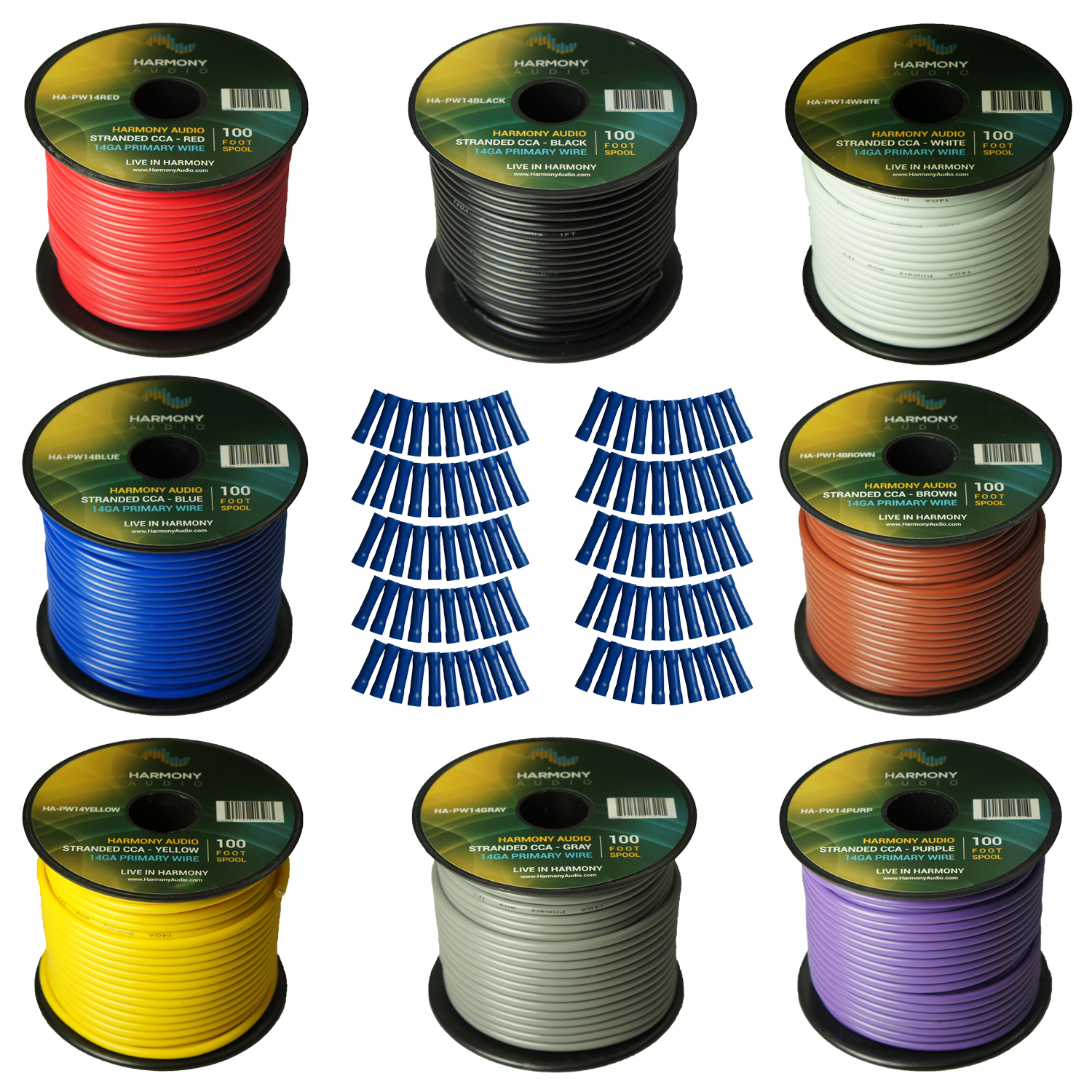 Harmony Audio Primary Single Conductor 14 Gauge Power or Ground Wire - 8 Rolls - 800 Feet - 8 Color Mix for Car Audio / Trailer / Model Train / Remote