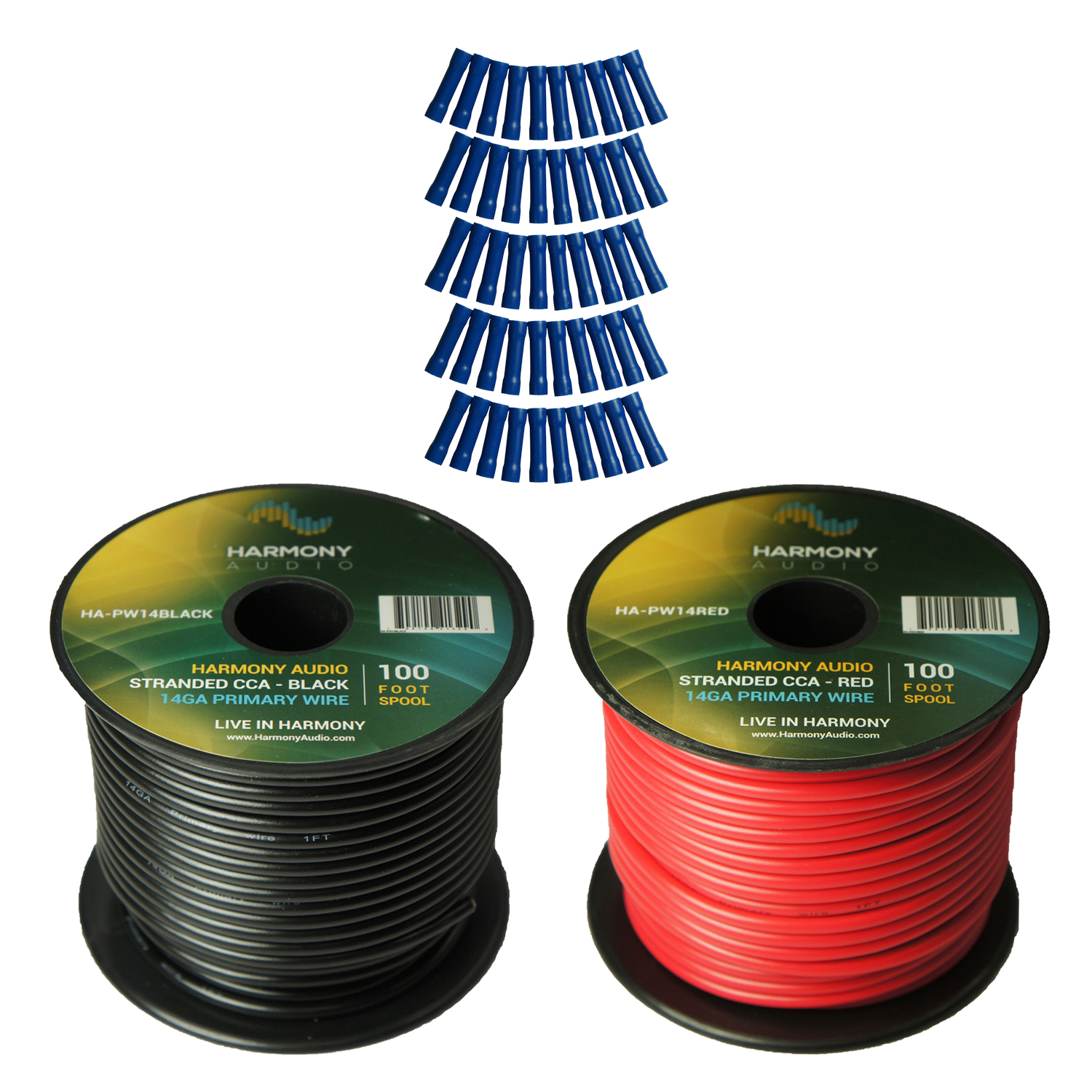 Harmony Audio Primary Single Conductor 14 Gauge Power or Ground Wire - 2 Rolls - 200 Feet - Red & Black for Car Audio / Trailer / Model Train / Remote