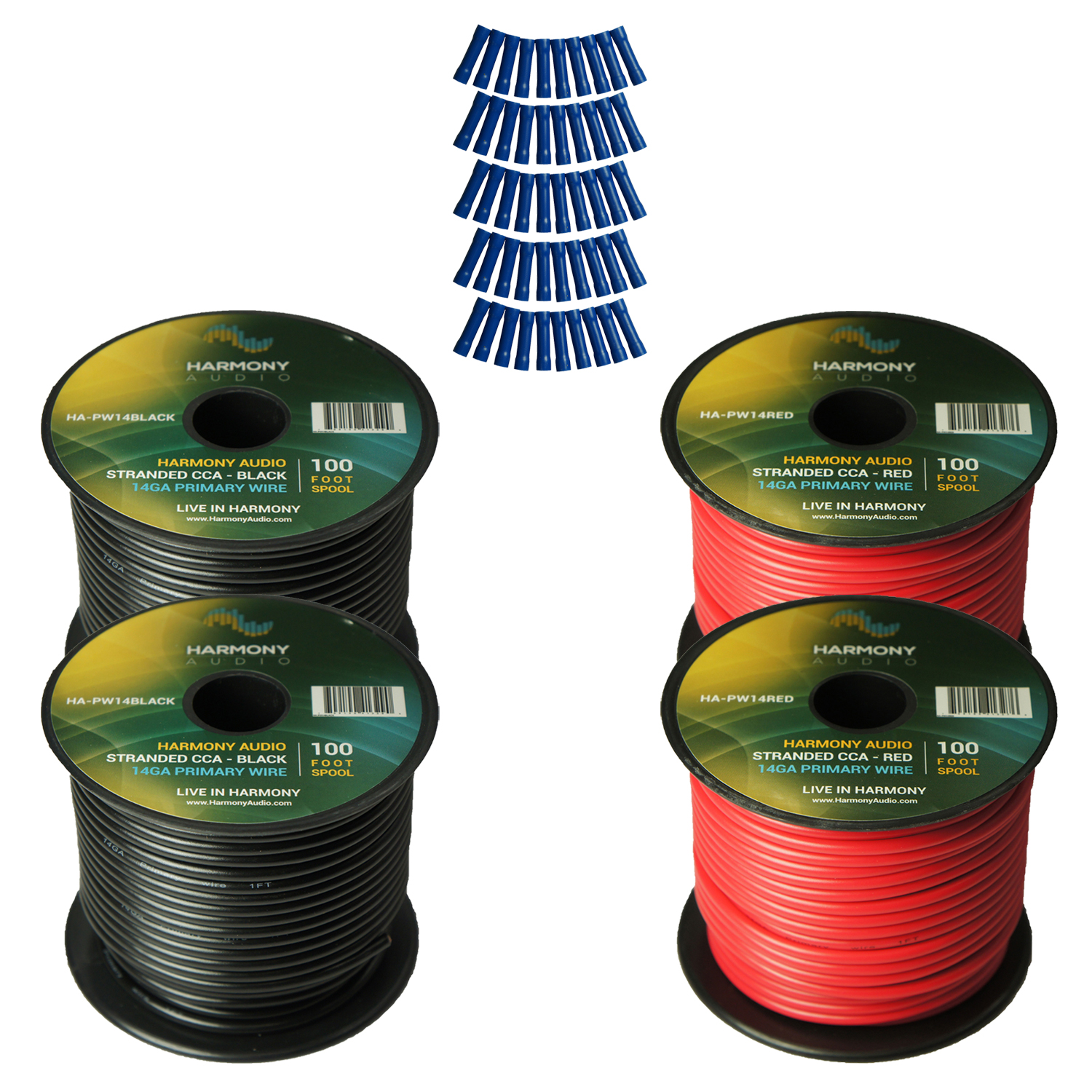 Harmony Audio Primary Single Conductor 14 Gauge Power or Ground Wire - 4 Rolls - 400 Feet - Red & Black for Car Audio / Trailer / Model Train / Remote