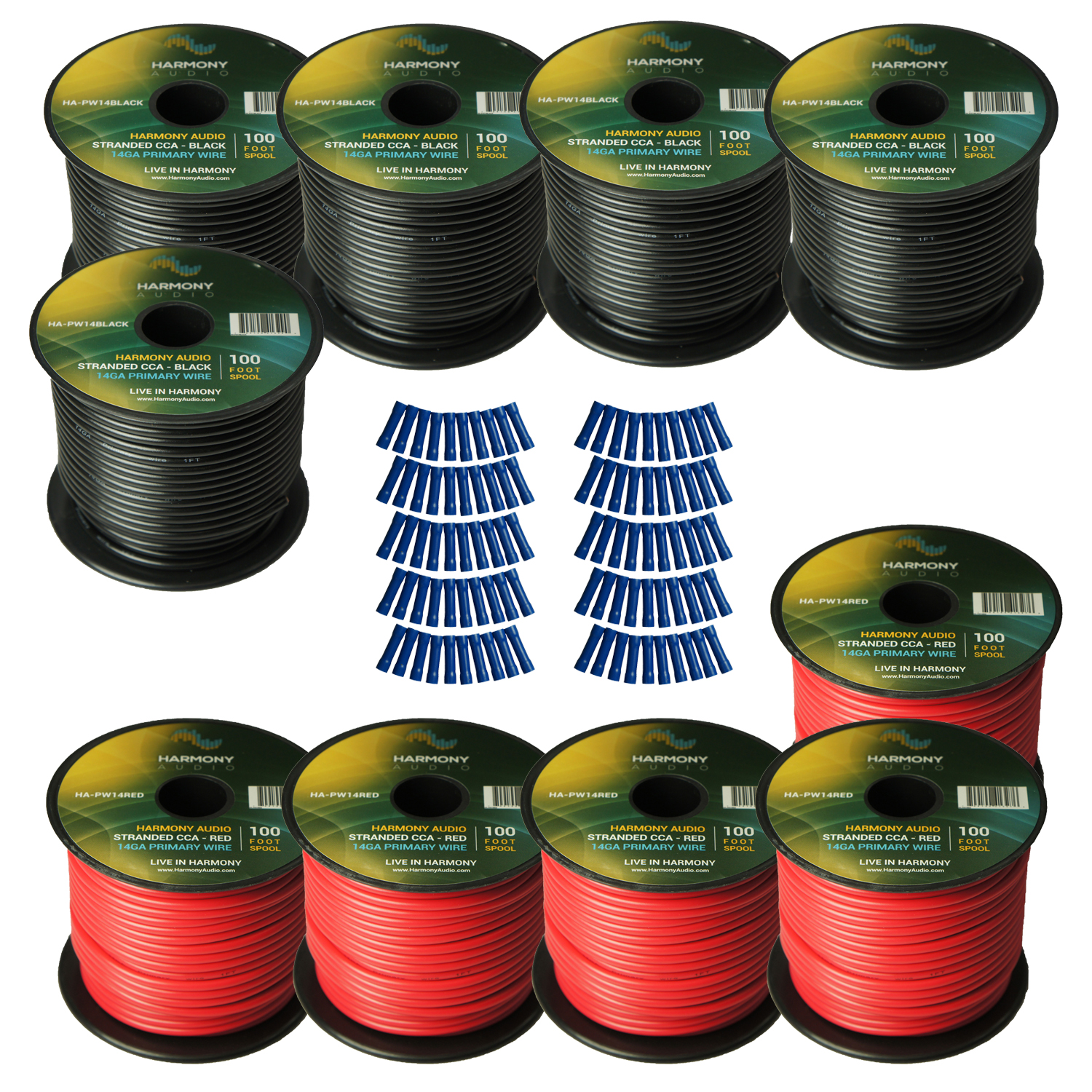 Harmony Audio Primary Single Conductor 14 Gauge Power or Ground Wire - 10 Rolls - 1000 Feet - Red & Black for Car Audio / Trailer / Model Train / Remote