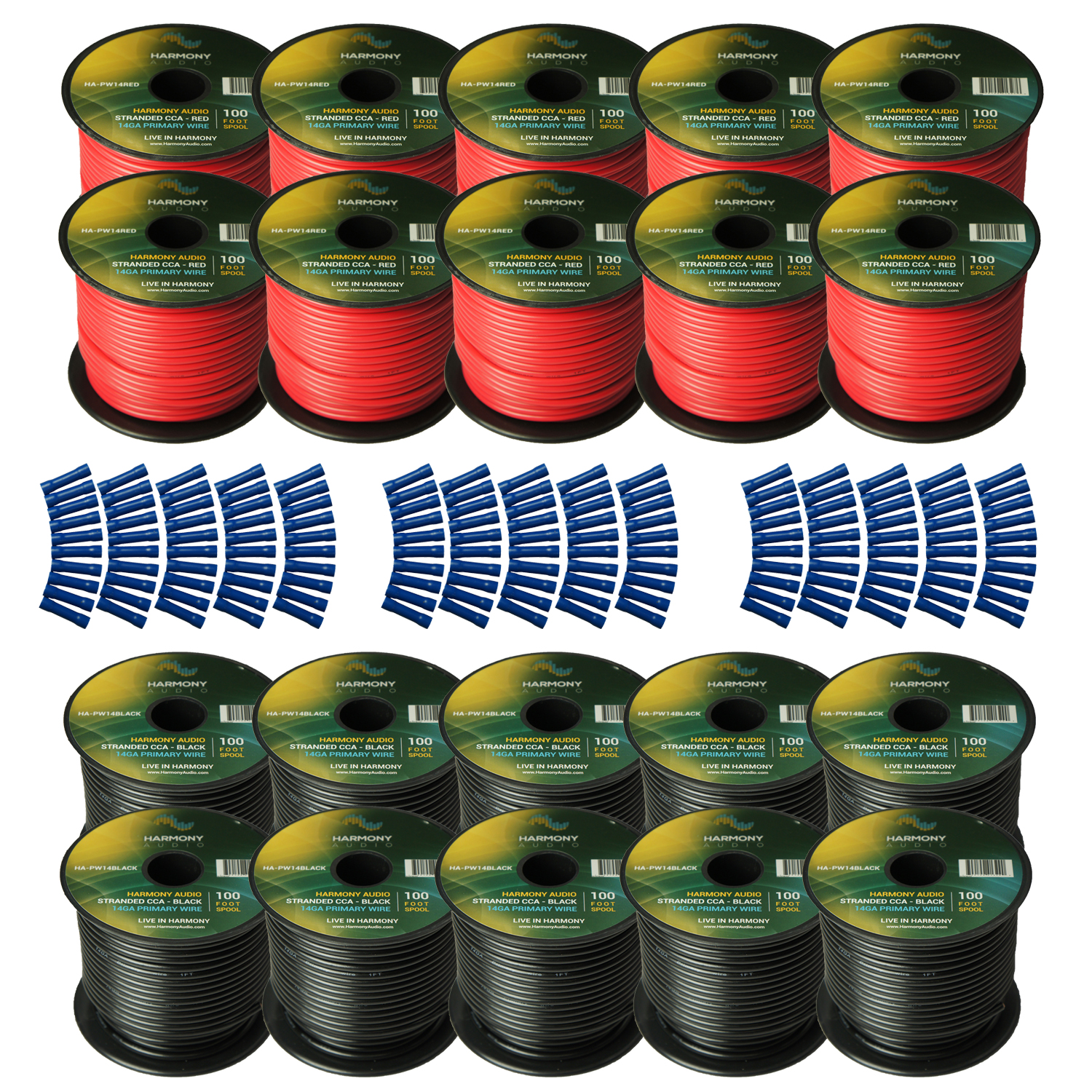 Harmony Audio Primary Single Conductor 14 Gauge Power or Ground Wire - 20 Rolls - 2000 Feet - Red & Black for Car Audio / Trailer / Model Train / Remote