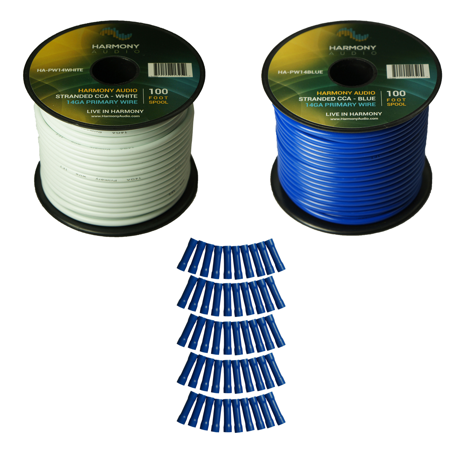 Harmony Audio Primary Single Conductor 14 Gauge Power or Ground Wire - 2 Rolls - 200 Feet - White & Blue for Car Audio / Trailer / Model Train / Remote