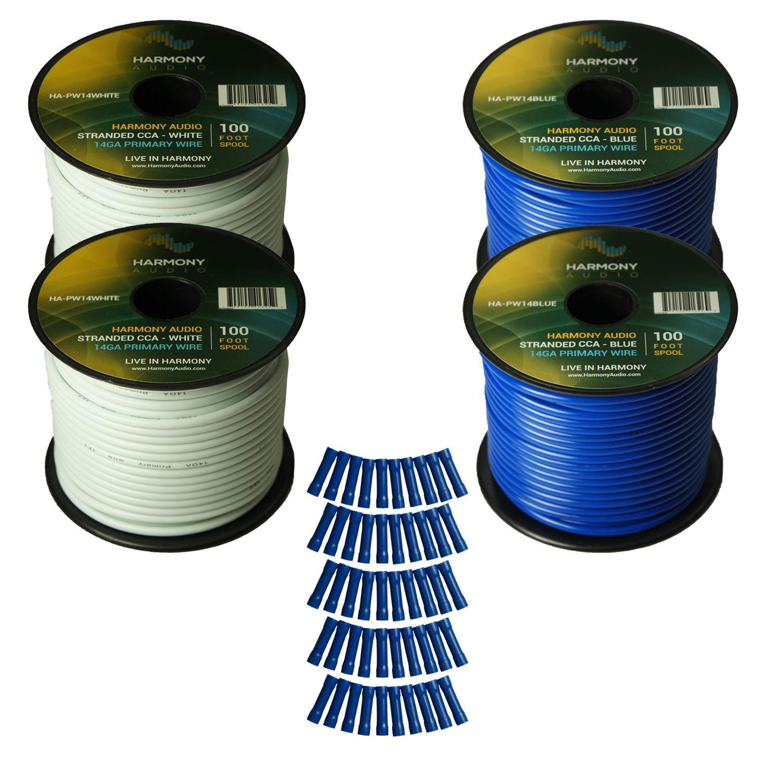 Harmony Audio Primary Single Conductor 14 Gauge Power or Ground Wire - 4 Rolls - 400 Feet - White & Blue for Car Audio / Trailer / Model Train / Remote