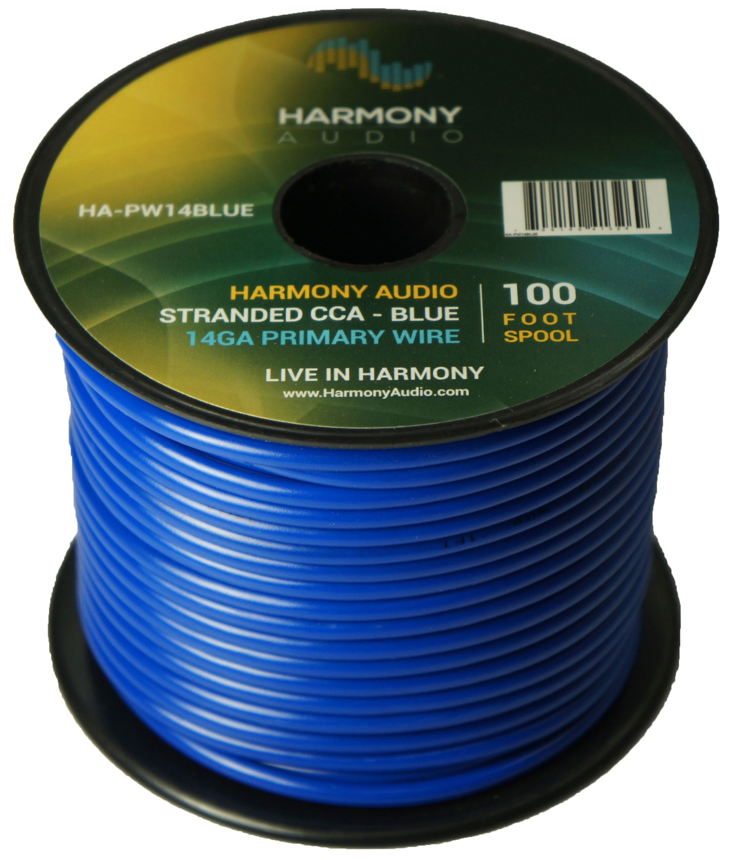Harmony Audio HA-PW14BLUE Primary Single Conductor 14 Gauge Blue Power or Ground Wire Roll 100 Feet Cable for Car Audio / Trailer / Model Train / Remote