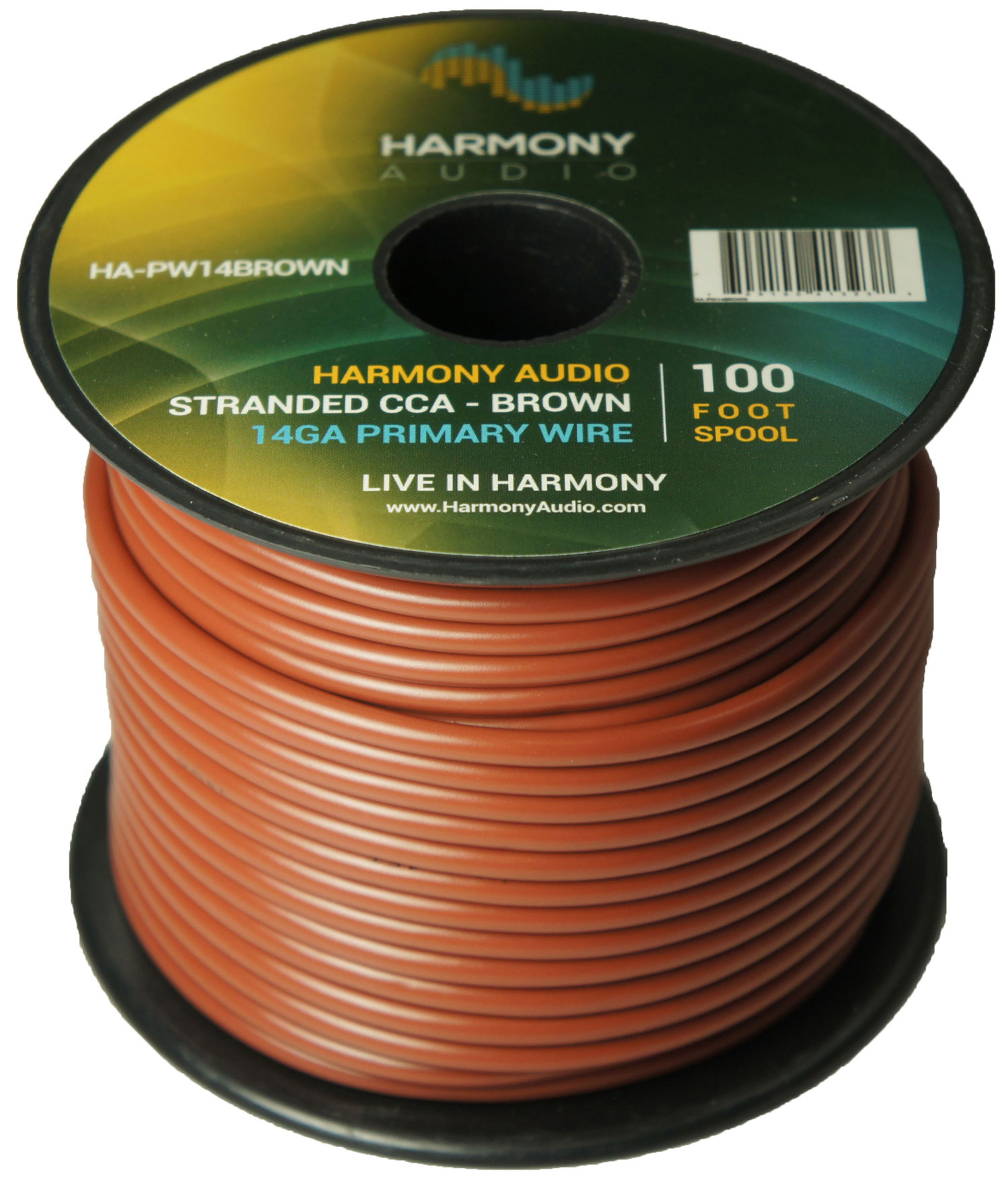Harmony Audio HA-PW14BROWN Primary Single Conductor 14 Gauge Brown Power or Ground Wire Roll 100 Feet Cable for Car Audio / Trailer / Model Train / Remote