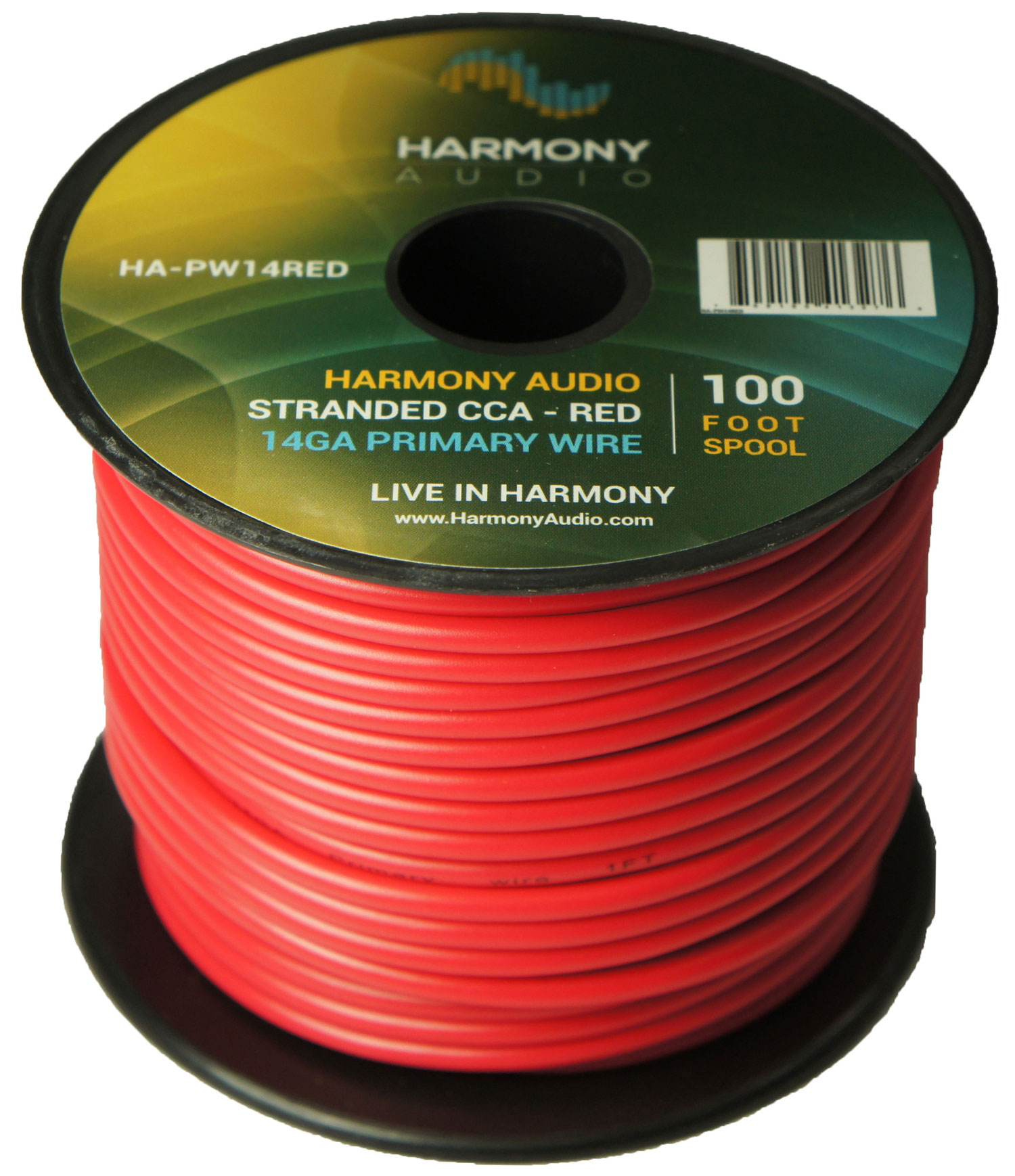 Harmony Audio HA-PW14RED Primary Single Conductor 14 Gauge Red Power or Ground Wire Roll 100 Feet Cable for Car Audio / Trailer / Model Train / Remote