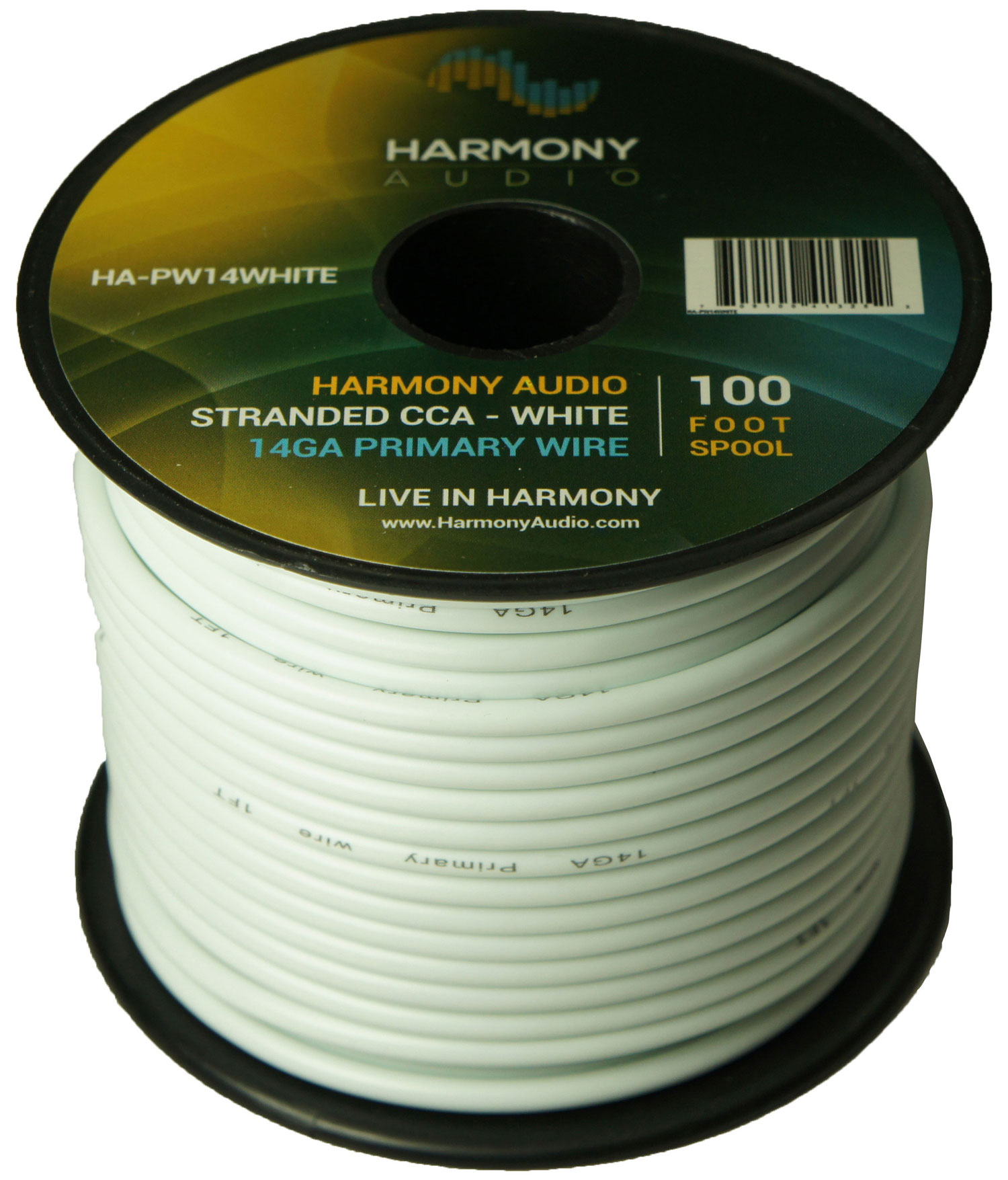 Harmony Audio HA-PW14WHITE Primary Single Conductor 14 Gauge White Power or Ground Wire Roll 100 Feet Cable for Car Audio / Trailer / Model Train / Remote