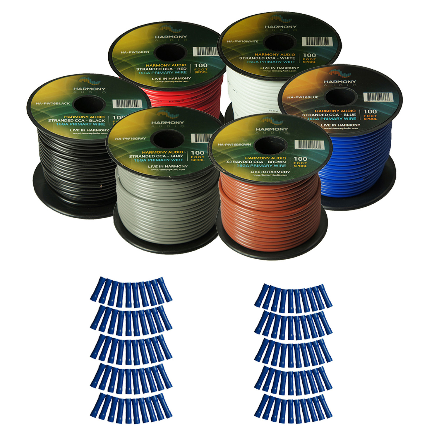 Harmony Audio Primary Single Conductor 16 Gauge Power or Ground Wire - 6 Rolls - 600 Feet - 6 Color Mix for Car Audio / Trailer / Model Train / Remote