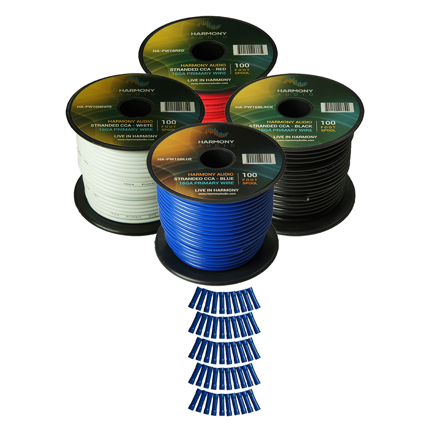 Harmony Audio Primary Single Conductor 16 Gauge Power or Ground Wire - 4 Rolls - 400 Feet - 4 Color Mix for Car Audio / Trailer / Model Train / Remote