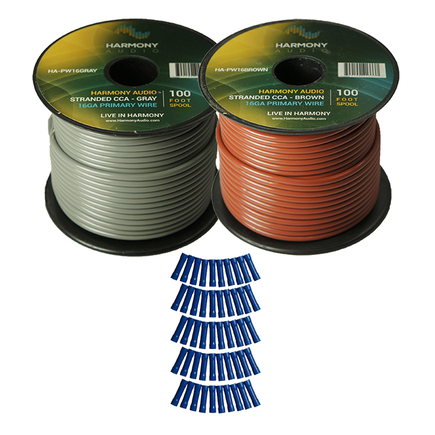 Harmony Audio Primary Single Conductor 16 Gauge Power or Ground Wire - 2 Rolls - 200 Feet - Gray & Brown for Car Audio / Trailer / Model Train / Remote