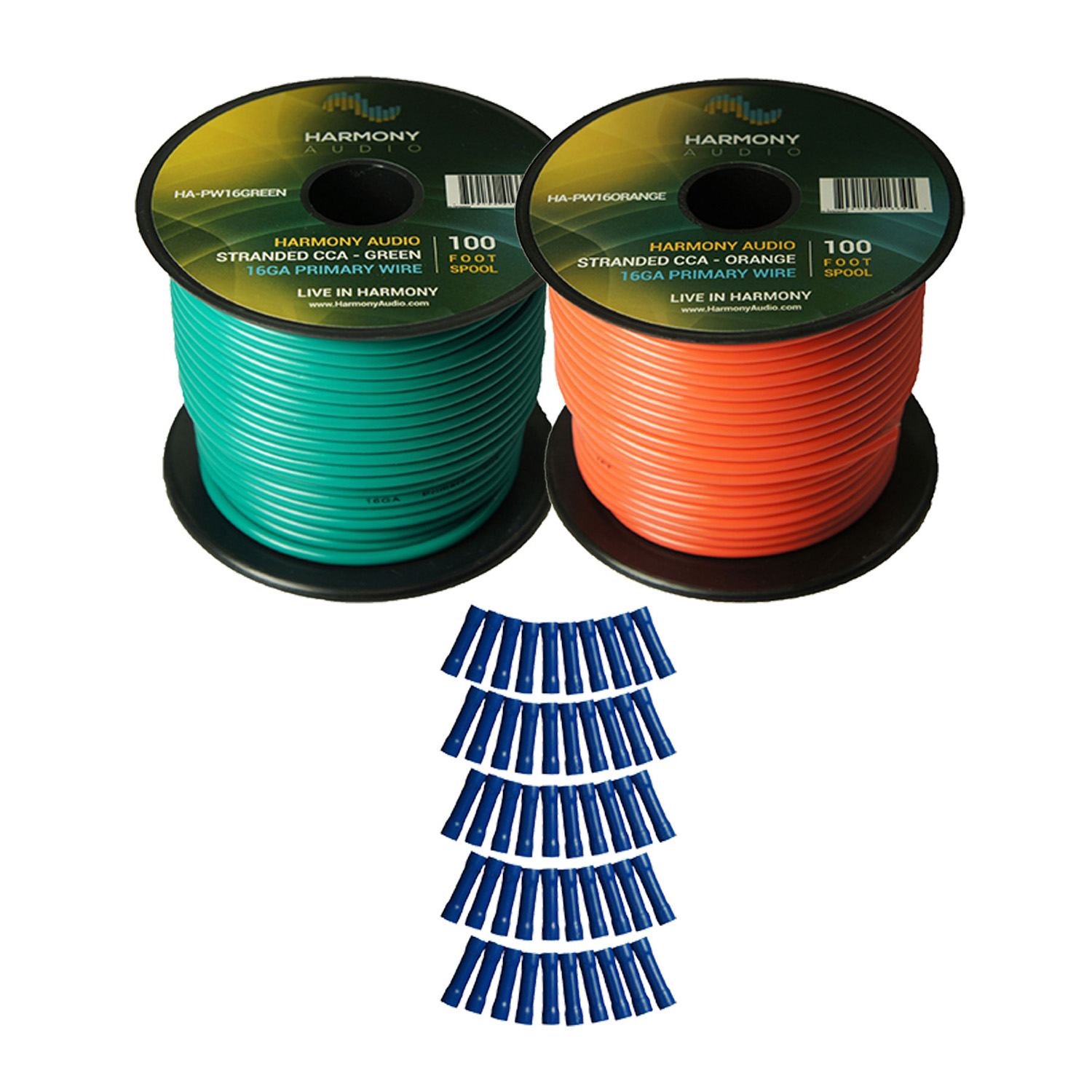 Harmony Audio Primary Single Conductor 16 Gauge Power or Ground Wire - 2 Rolls - 200 Feet - Green & Orange for Car Audio / Trailer / Model Train / Remote