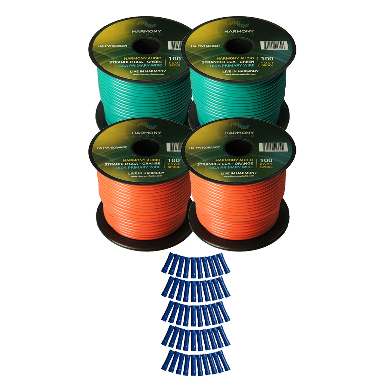 Harmony Audio Primary Single Conductor 16 Gauge Power or Ground Wire - 4 Rolls - 400 Feet - Green & Orange for Car Audio / Trailer / Model Train / Remote