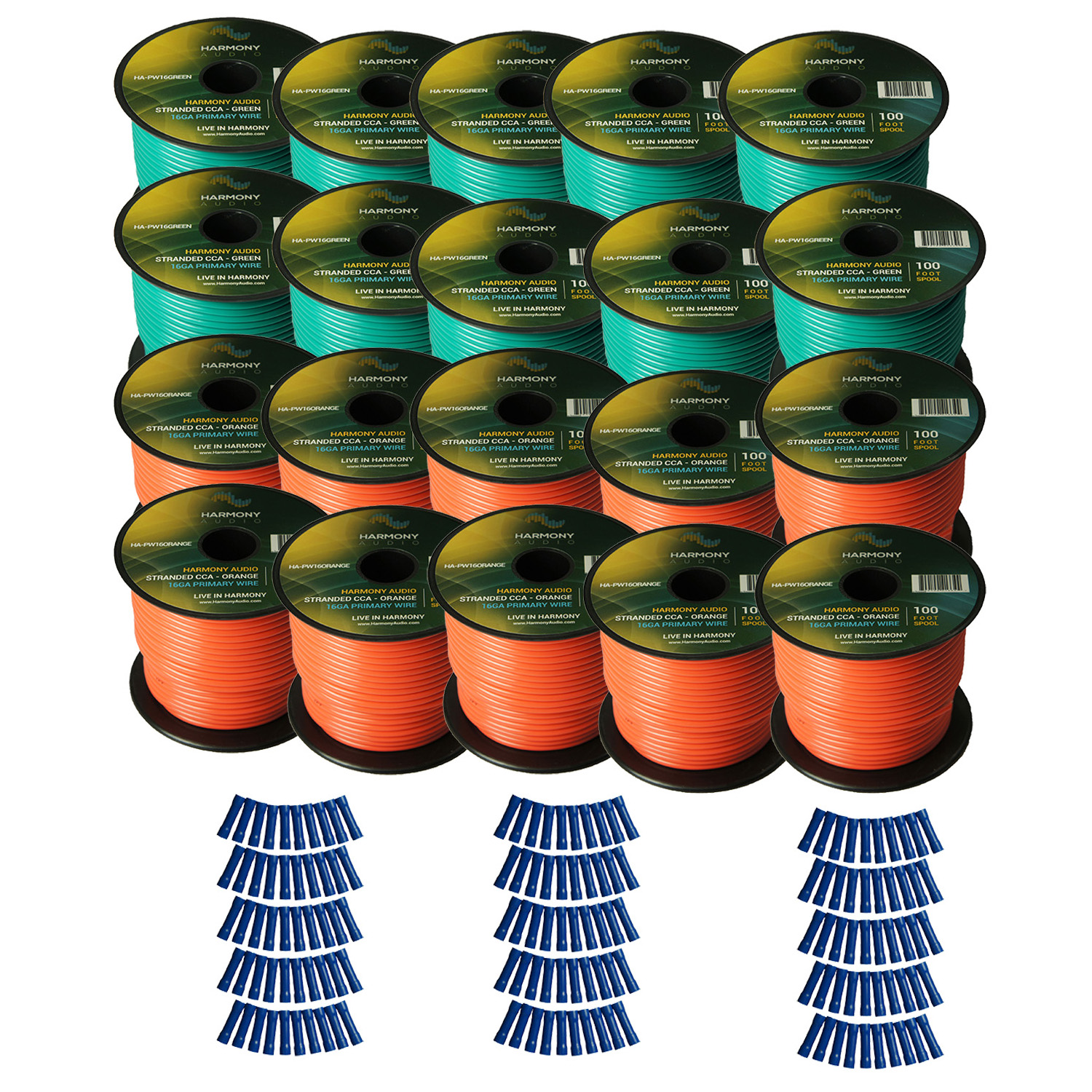 Harmony Audio Primary Single Conductor 16 Gauge Power or Ground Wire - 20 Rolls - 2000 Feet - Green & Orange for Car Audio / Trailer / Model Train / Remote