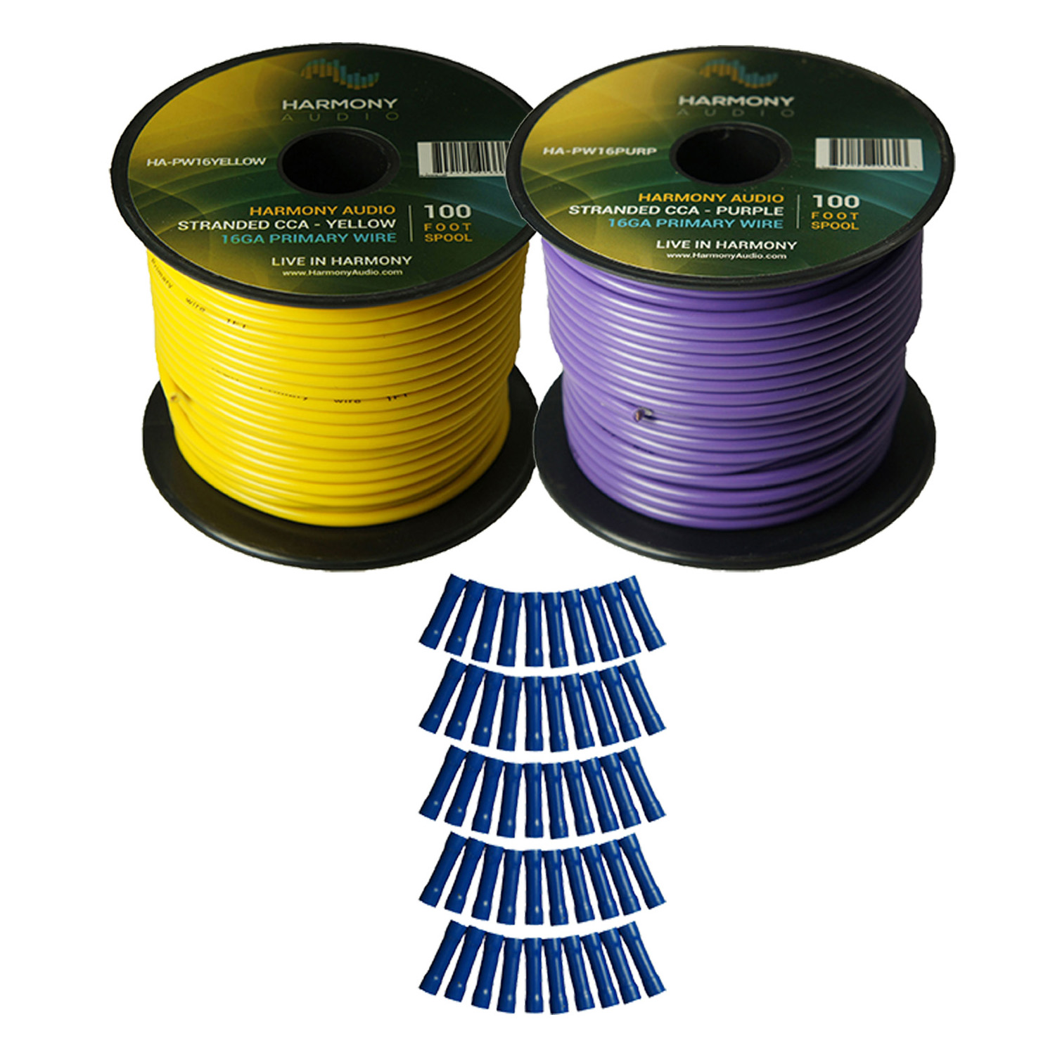 Harmony Audio Primary Single Conductor 16 Gauge Power or Ground Wire - 2 Rolls - 200 Feet - Yellow & Purple for Car Audio / Trailer / Model Train / Remote