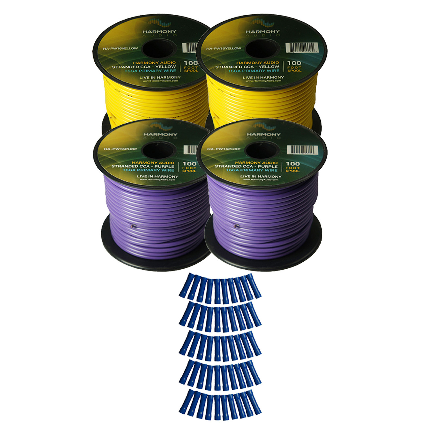 Harmony Audio Primary Single Conductor 16 Gauge Power or Ground Wire - 4 Rolls - 400 Feet - Yellow & Purple for Car Audio / Trailer / Model Train / Remote