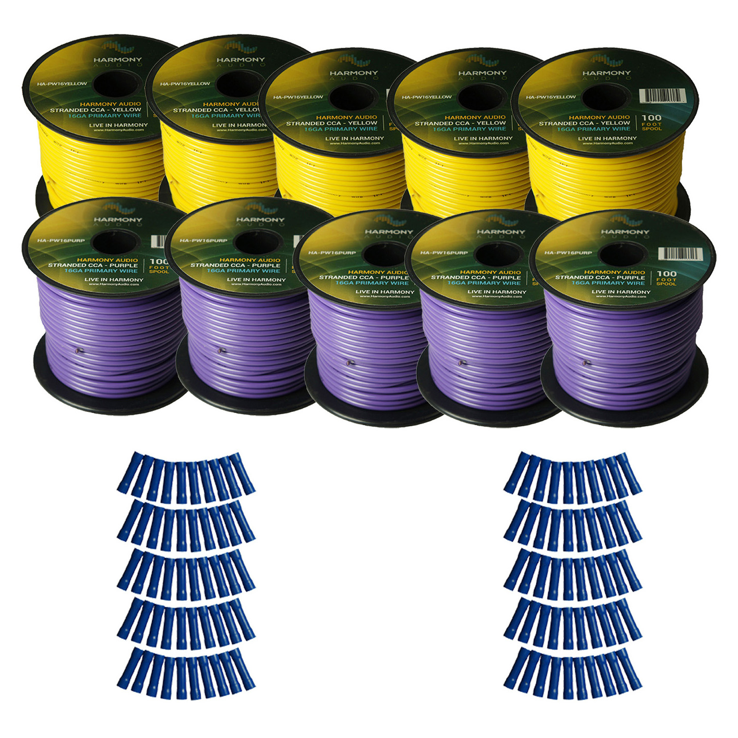 Harmony Audio Primary Single Conductor 16 Gauge Power or Ground Wire - 10 Rolls - 1000 Feet - Yellow & Purple for Car Audio / Trailer / Model Train / Remote