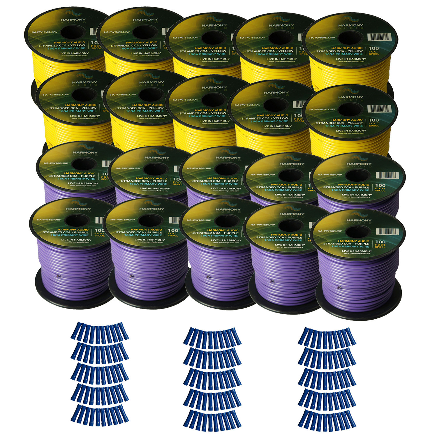 Harmony Audio Primary Single Conductor 16 Gauge Power or Ground Wire - 20 Rolls - 2000 Feet - Yellow & Purple for Car Audio / Trailer / Model Train / Remote