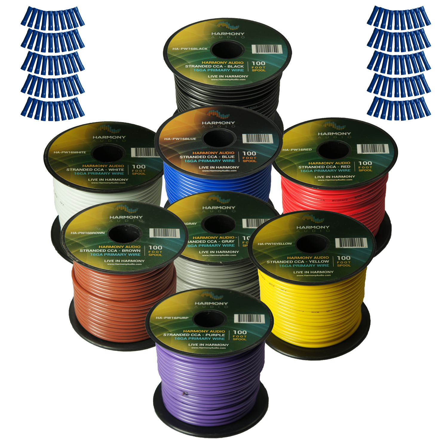 Harmony Audio Primary Single Conductor 16 Gauge Power or Ground Wire - 8 Rolls - 800 Feet - 8 Color Mix for Car Audio / Trailer / Model Train / Remote