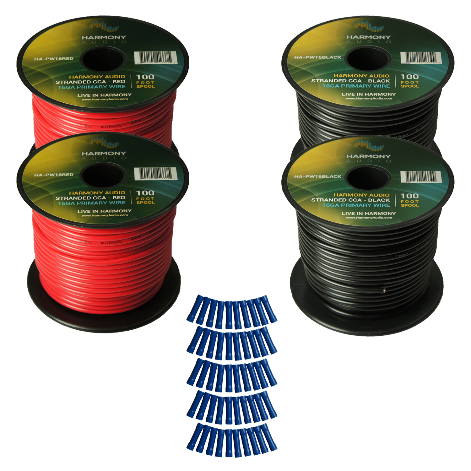 Harmony Audio Primary Single Conductor 16 Gauge Power or Ground Wire - 4 Rolls - 400 Feet - Red & Black for Car Audio / Trailer / Model Train / Remote