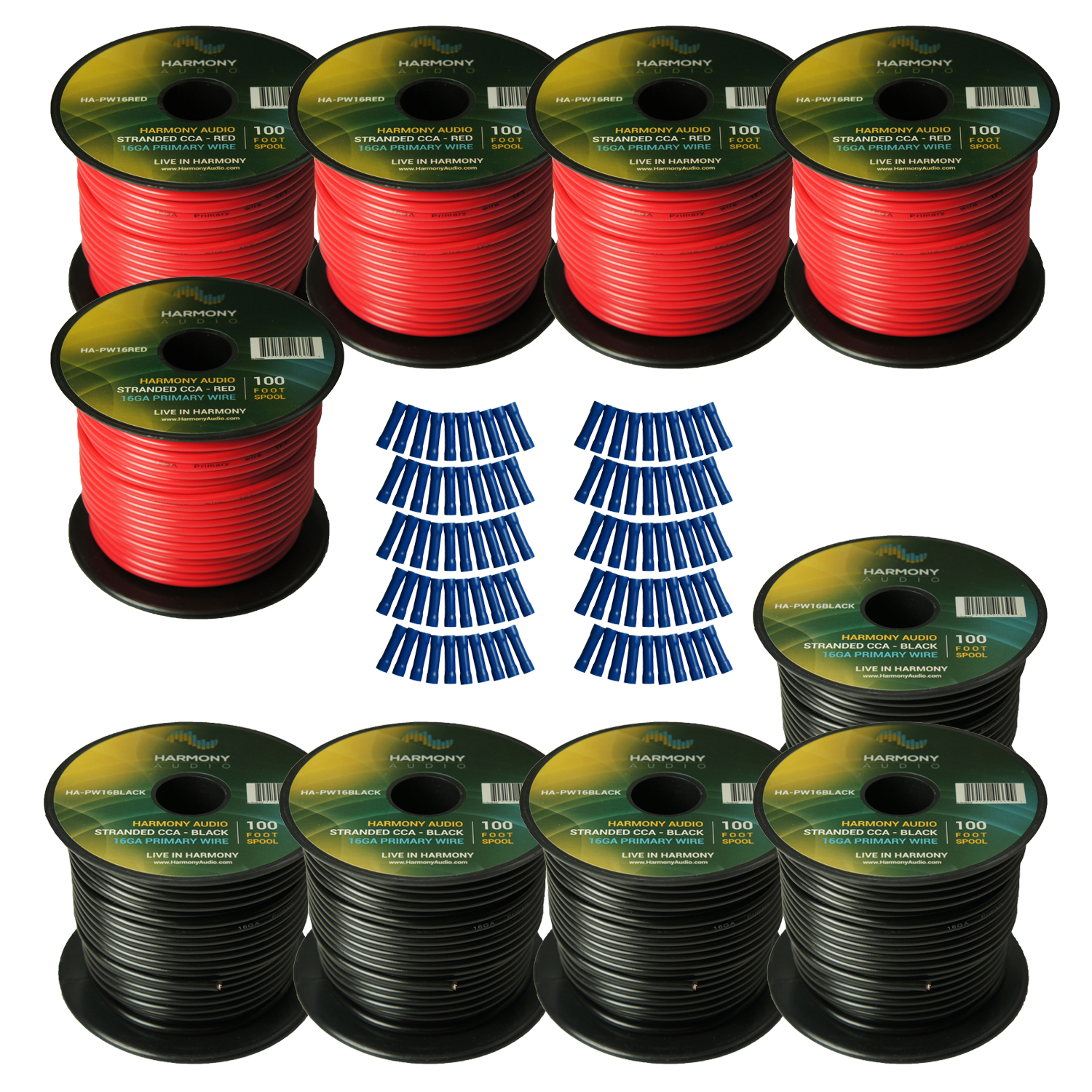 Harmony Audio Primary Single Conductor 16 Gauge Power or Ground Wire - 10 Rolls - 1000 Feet - Red & Black for Car Audio / Trailer / Model Train / Remote