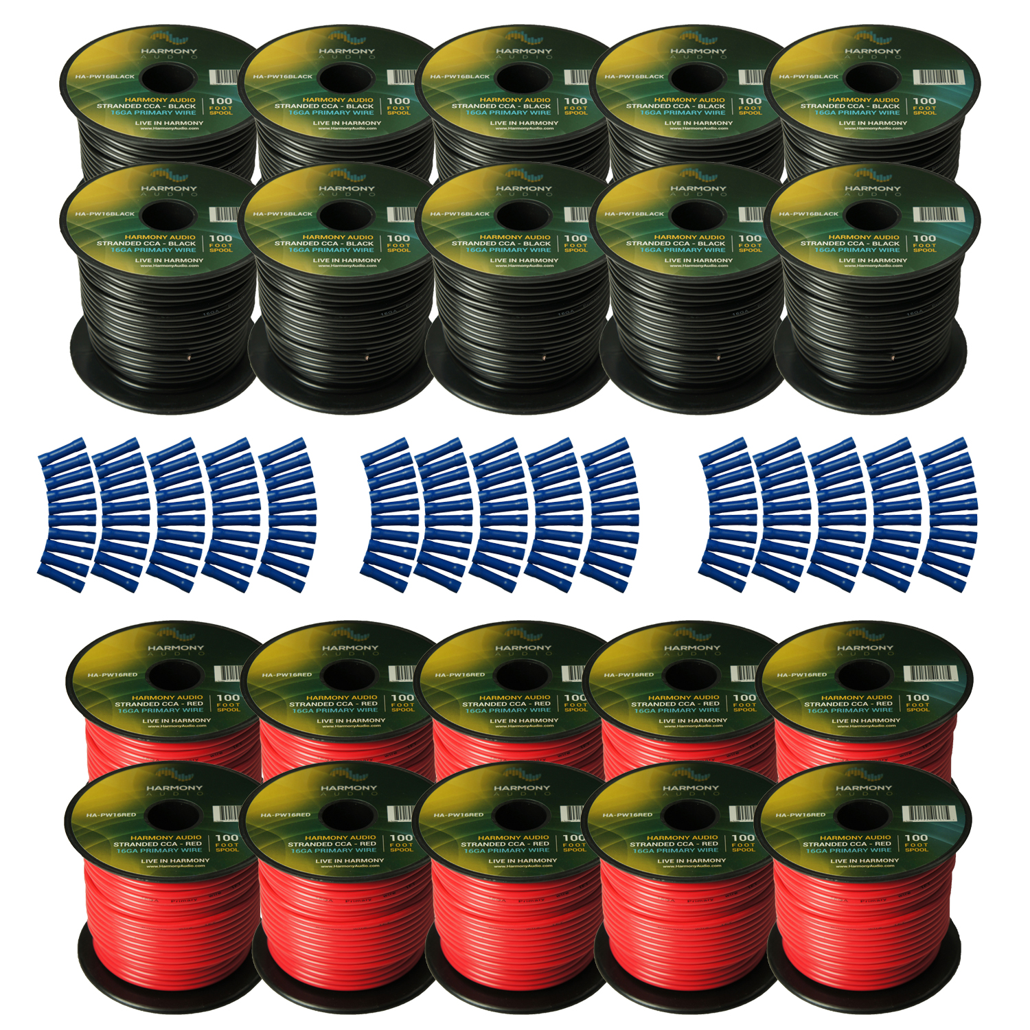 Harmony Audio Primary Single Conductor 16 Gauge Power or Ground Wire - 20 Rolls - 2000 Feet - Red & Black for Car Audio / Trailer / Model Train / Remote