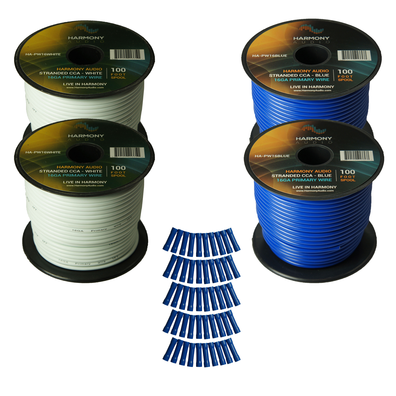 Harmony Audio Primary Single Conductor 16 Gauge Power or Ground Wire - 4 Rolls - 400 Feet - White & Blue for Car Audio / Trailer / Model Train / Remote