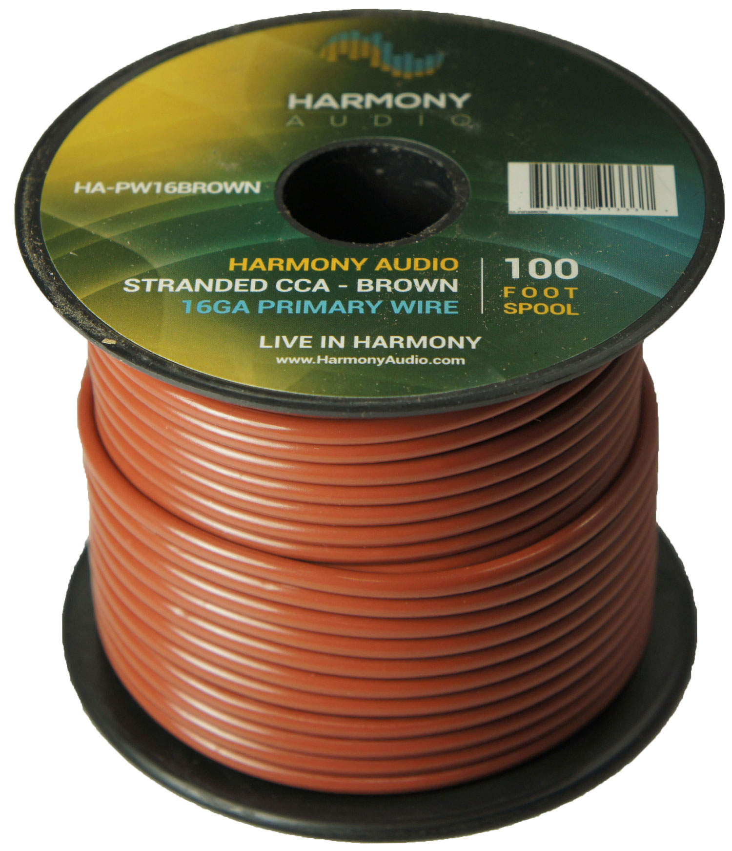 Harmony Audio HA-PW16BROWN Primary Single Conductor 16 Gauge Brown Power or Ground Wire Roll 100 Feet Cable for Car Audio / Trailer / Model Train / Remote