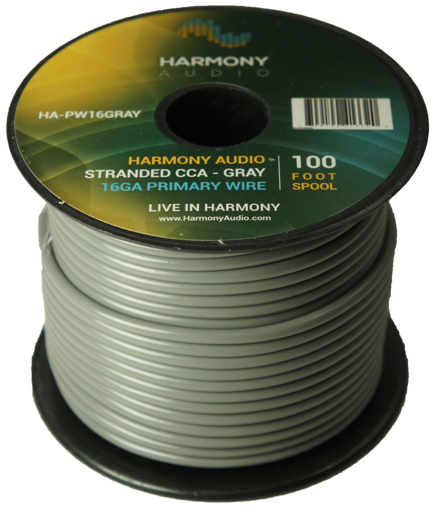 Harmony Audio HA-PW16GRAY Primary Single Conductor 16 Gauge Gray Power or Ground Wire Roll 100 Feet Cable for Car Audio / Trailer / Model Train / Remote
