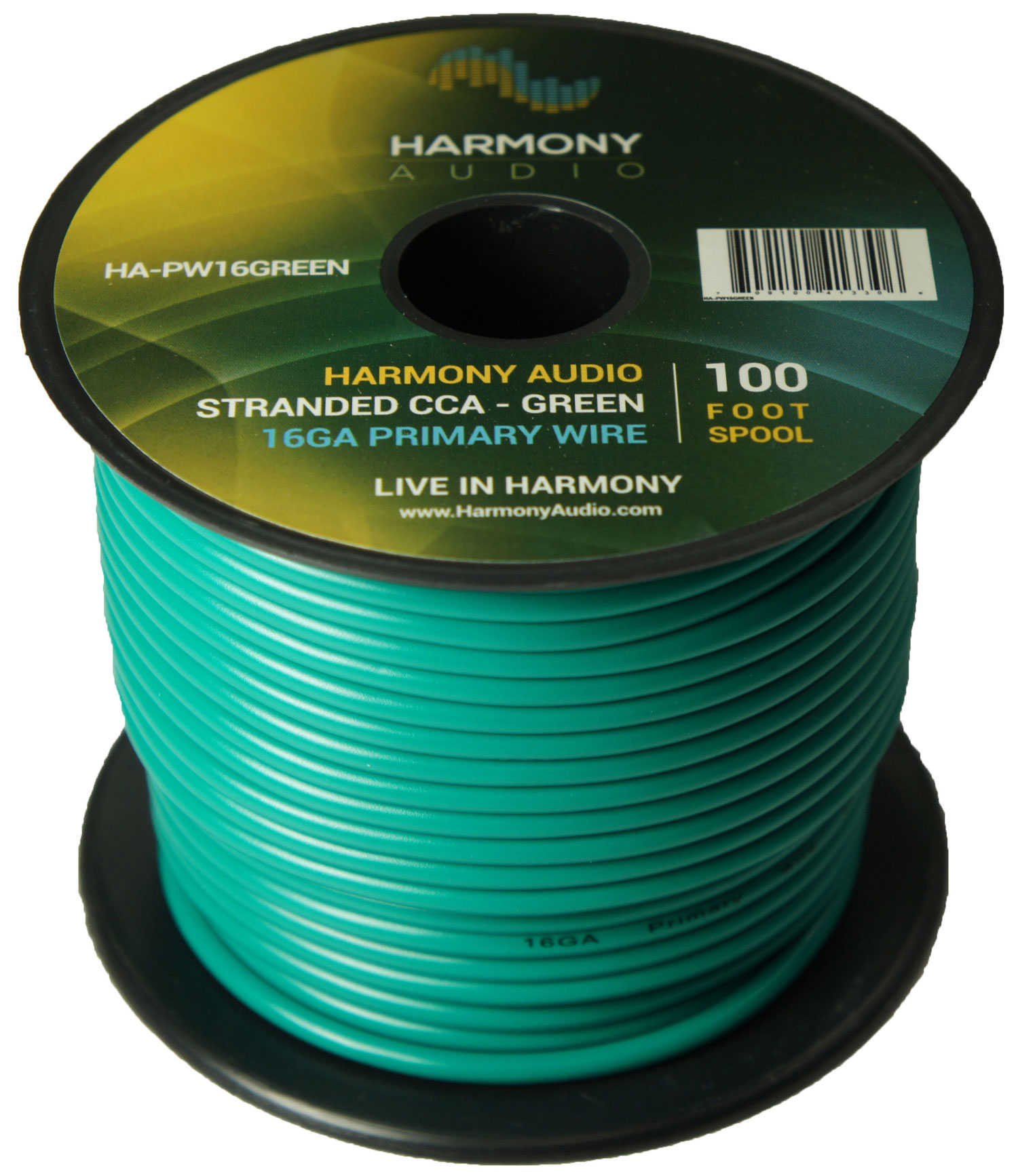 Harmony Audio HA-PW16GREEN Primary Single Conductor 16 Gauge Green Power or Ground Wire Roll 100 Feet Cable for Car Audio / Trailer / Model Train / Remote