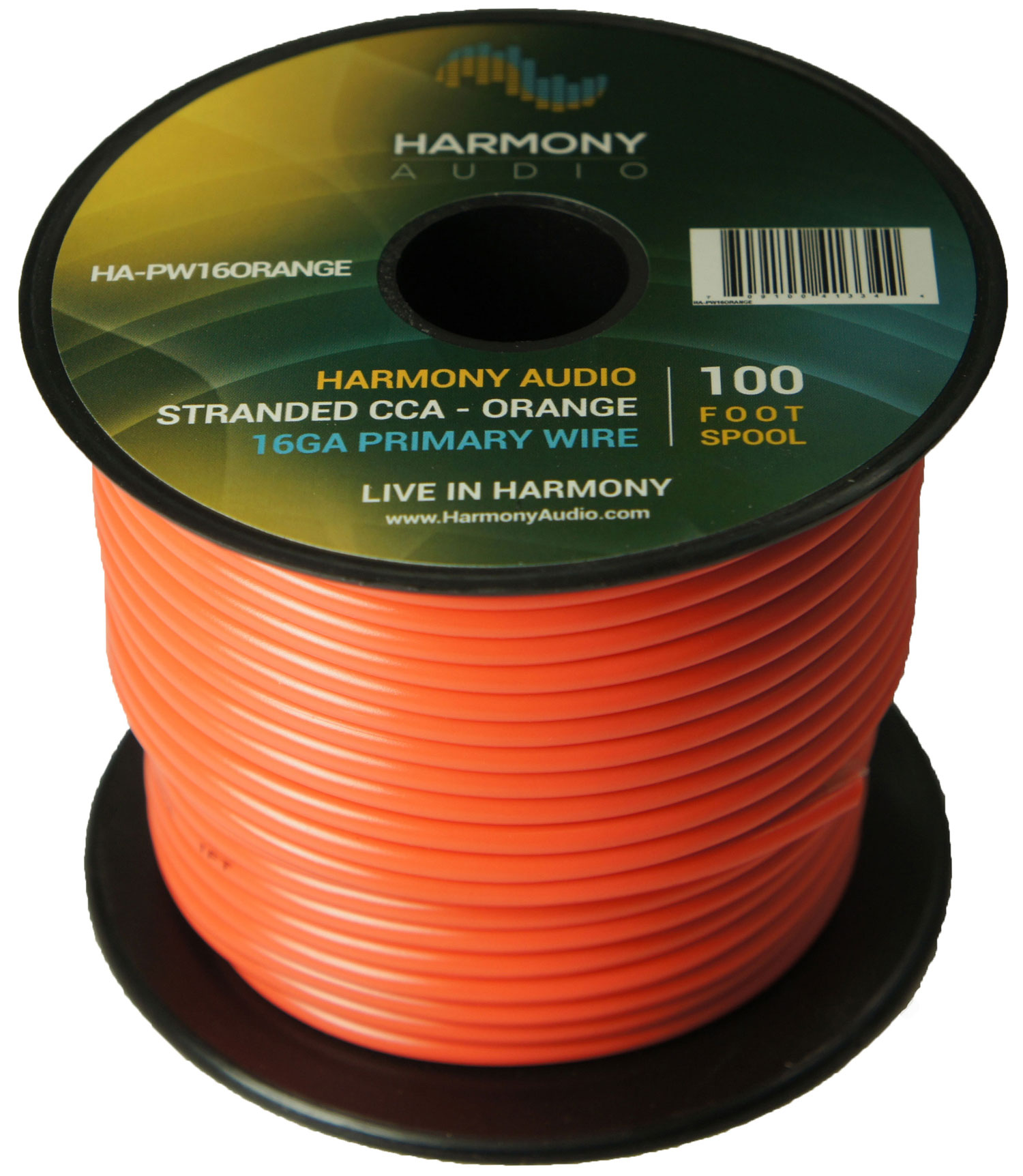 Harmony Audio HA-PW16ORANGE Primary Single Conductor 16 Gauge Orange Power or Ground Wire Roll 100 Feet Cable for Car Audio / Trailer / Model Train / Remote
