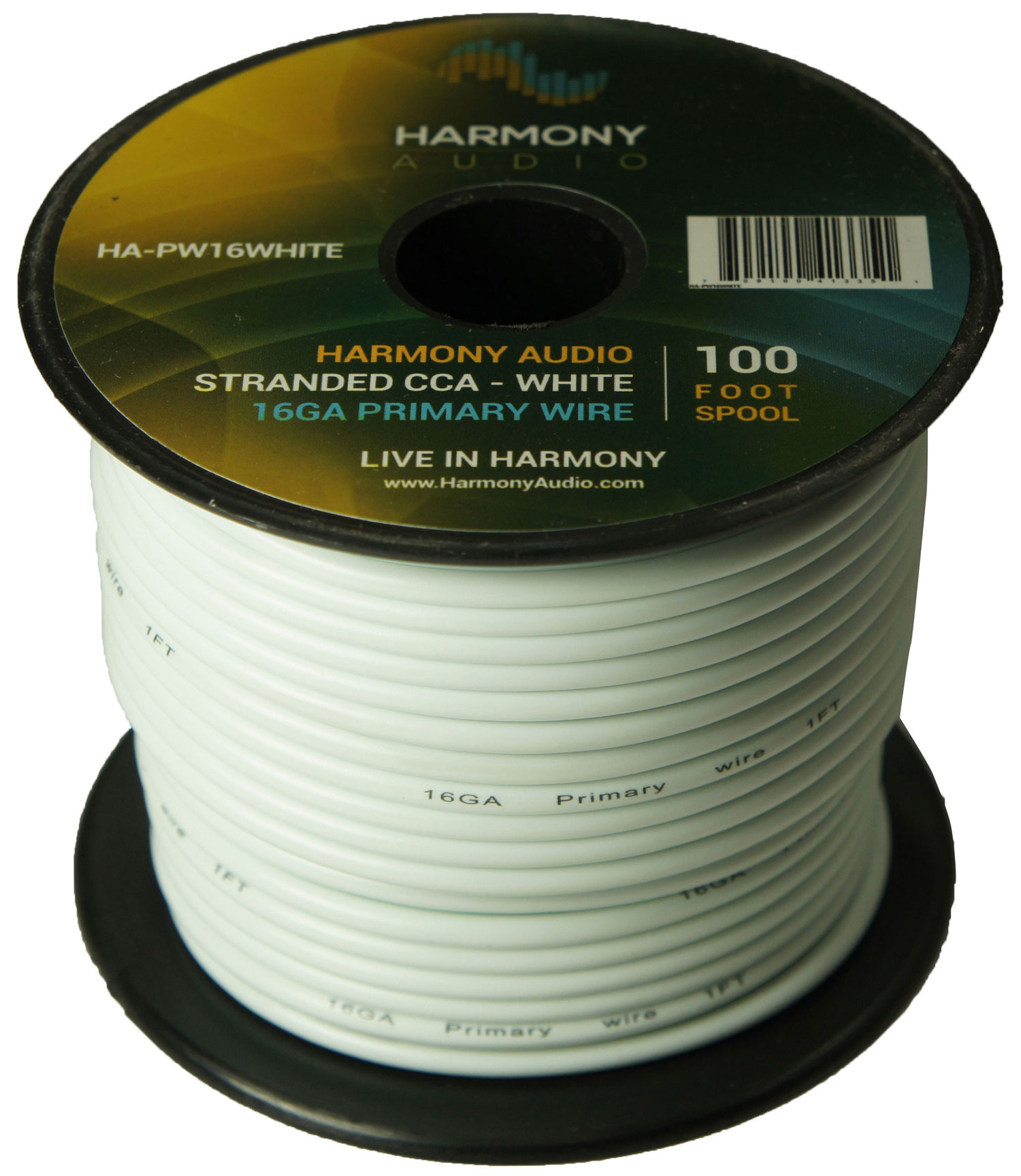 Harmony Audio HA-PW16WHITE Primary Single Conductor 16 Gauge White Power or Ground Wire Roll 100 Feet Cable for Car Audio / Trailer / Model Train / Remote