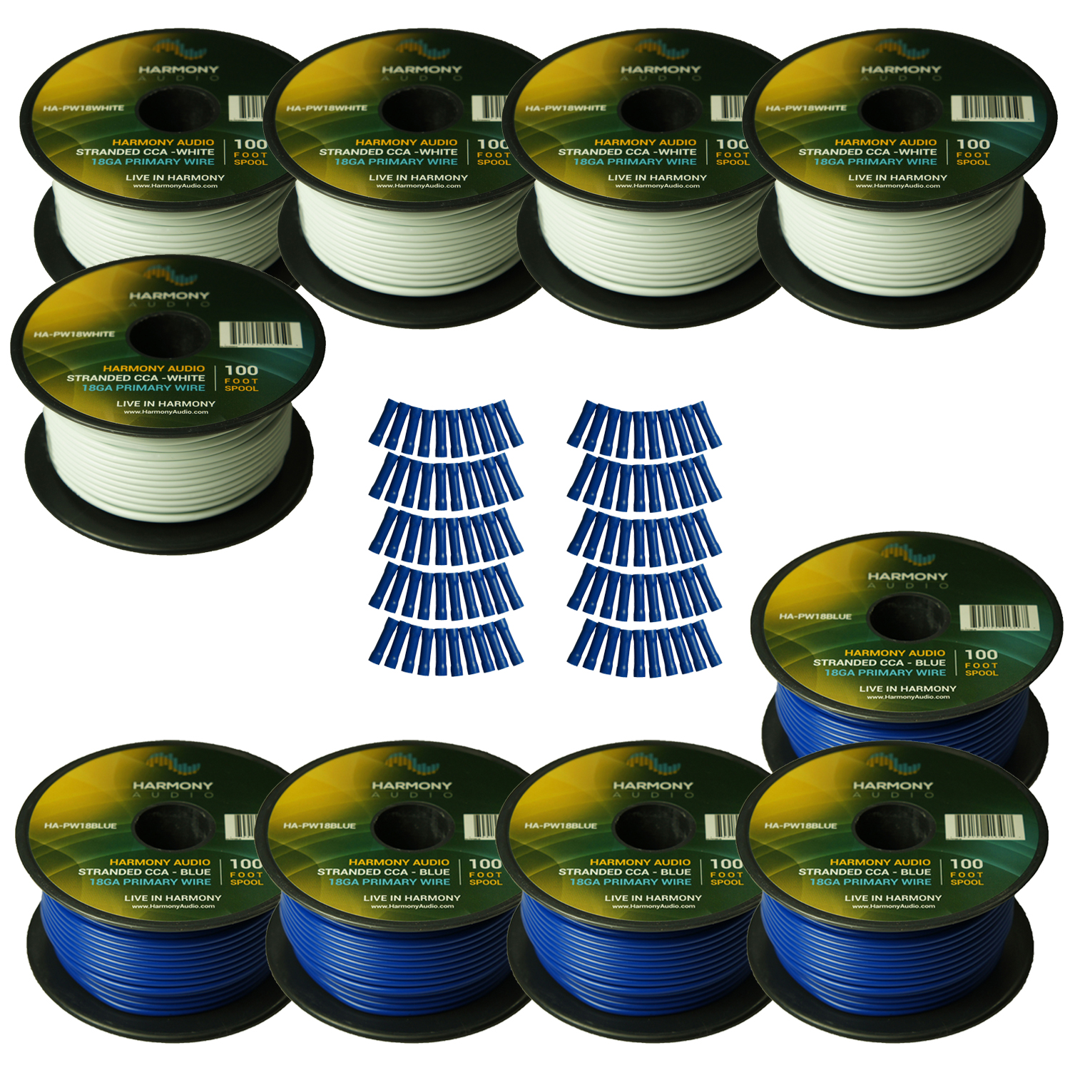 Harmony Audio Primary Single Conductor 18 Gauge Power or Ground Wire - 10 Rolls - 1000 Feet - White & Blue for Car Audio / Trailer / Model Train / Remote